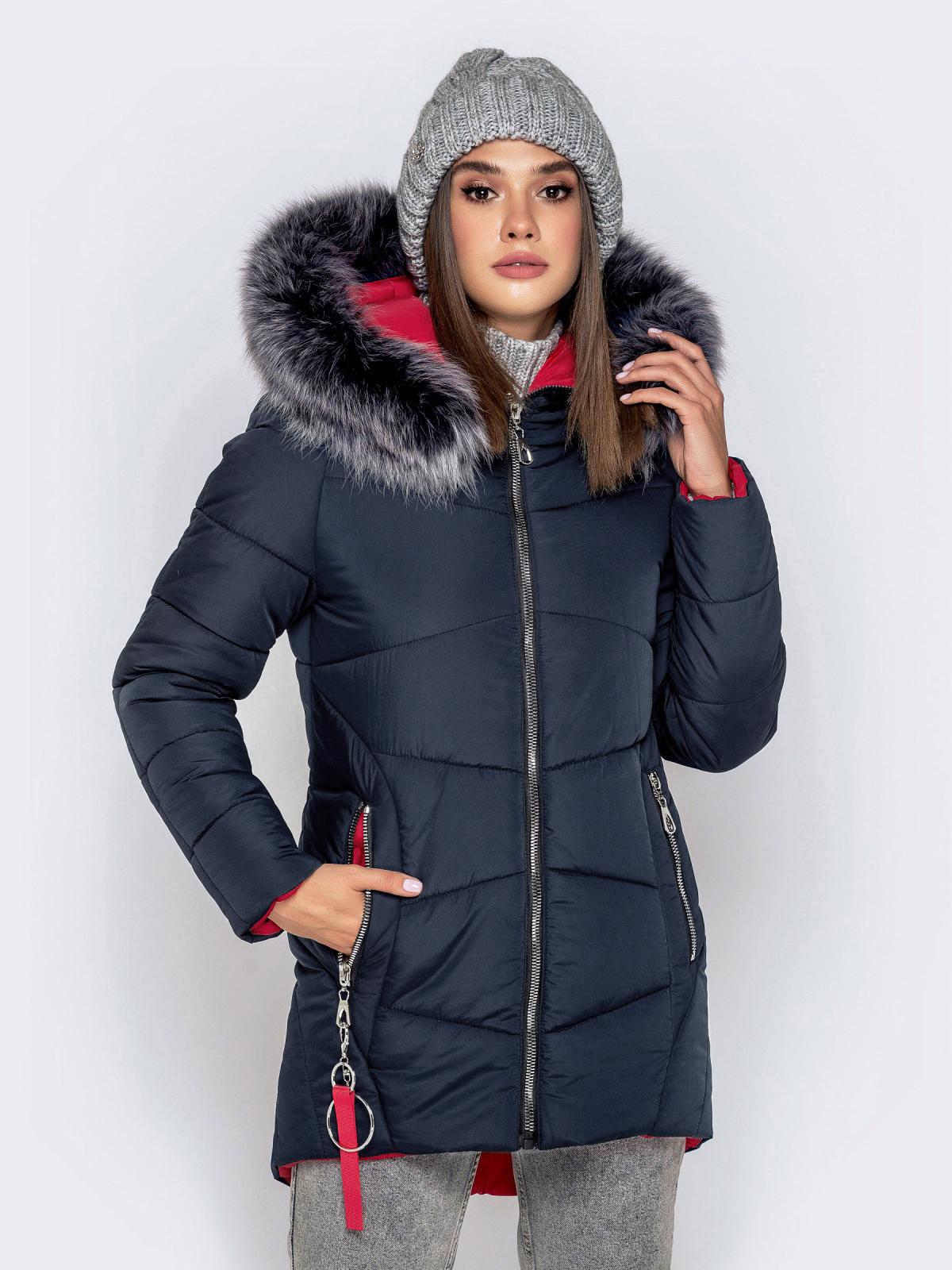 Зимняя куртка с удлиненной спинкой и капюшоном тёмно-синяя 40911, фото 1