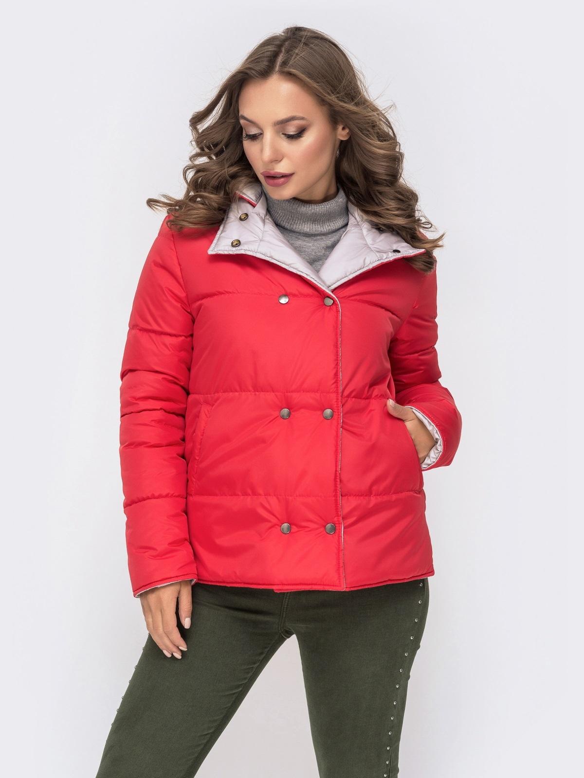Двухсторонняя куртка на кнопках со съемным капюшоном красная - 41587, фото 1 – интернет-магазин Dressa