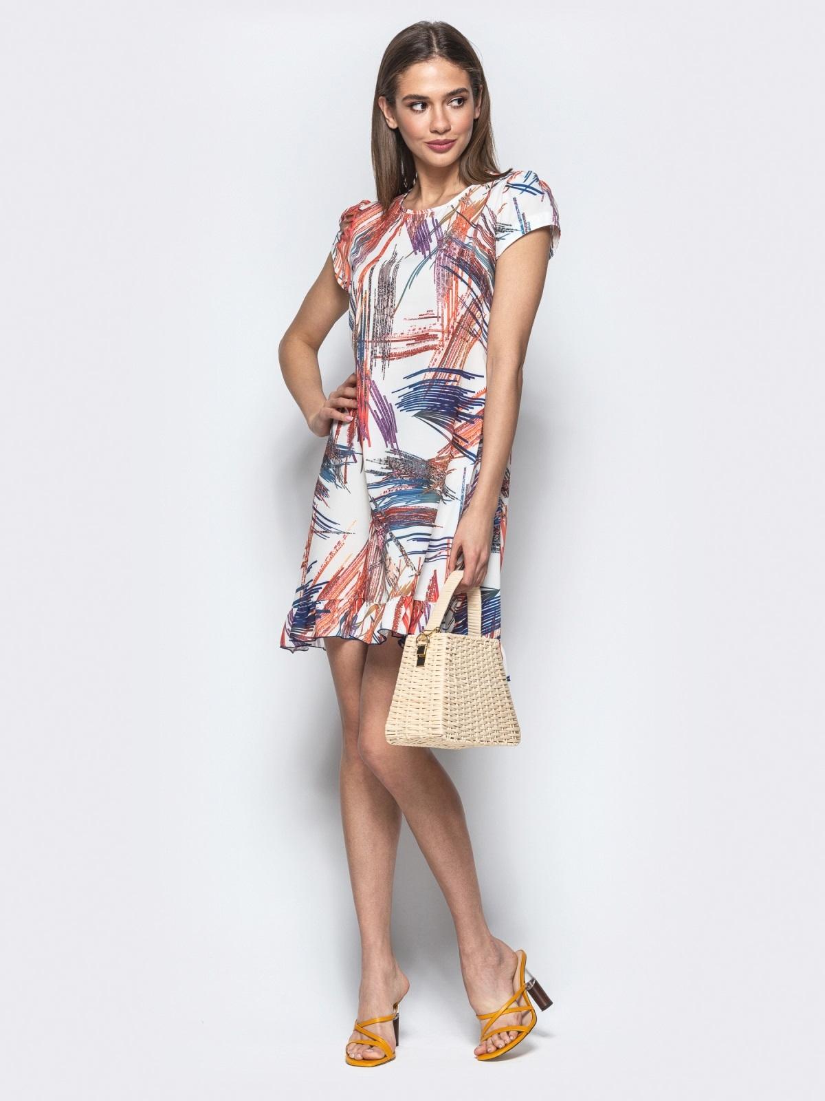 Принтованное платье из софта А-силуэта белое - 22009, фото 1 – интернет-магазин Dressa