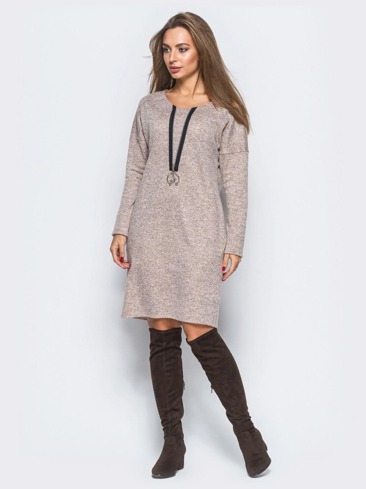 Розовое платье с декоративной молнией - 17497, фото 1 – интернет-магазин Dressa