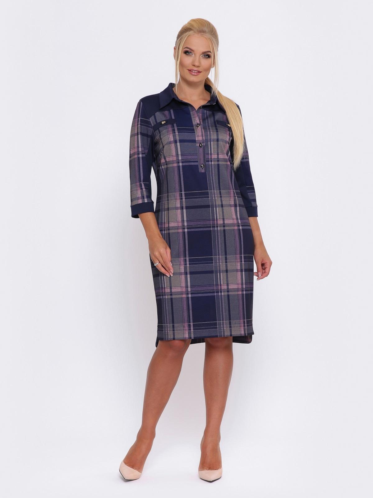Синее платье-рубашка в розовую клетку - 28469, фото 1 – интернет-магазин Dressa