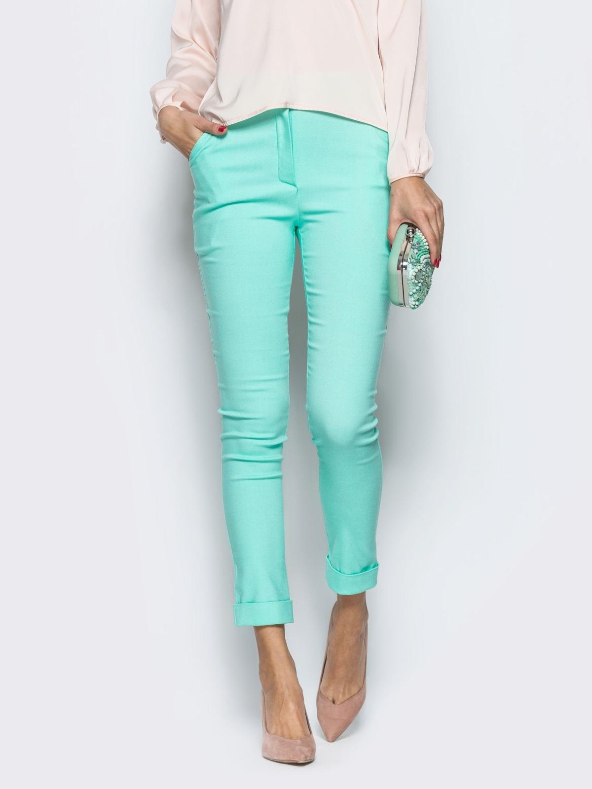 Бирюзовые брюки из бенгалина с подворотом - 12781, фото 1 – интернет-магазин Dressa
