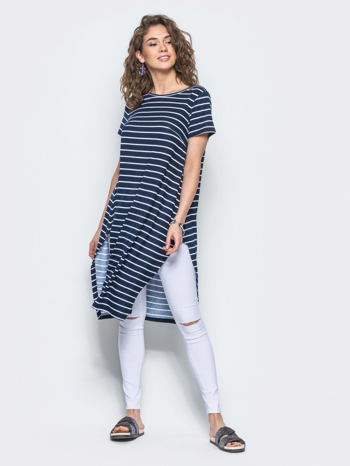 Полосатая туника свободного кроя с разрезами по бокам синяя - 13419, фото 1 – интернет-магазин Dressa