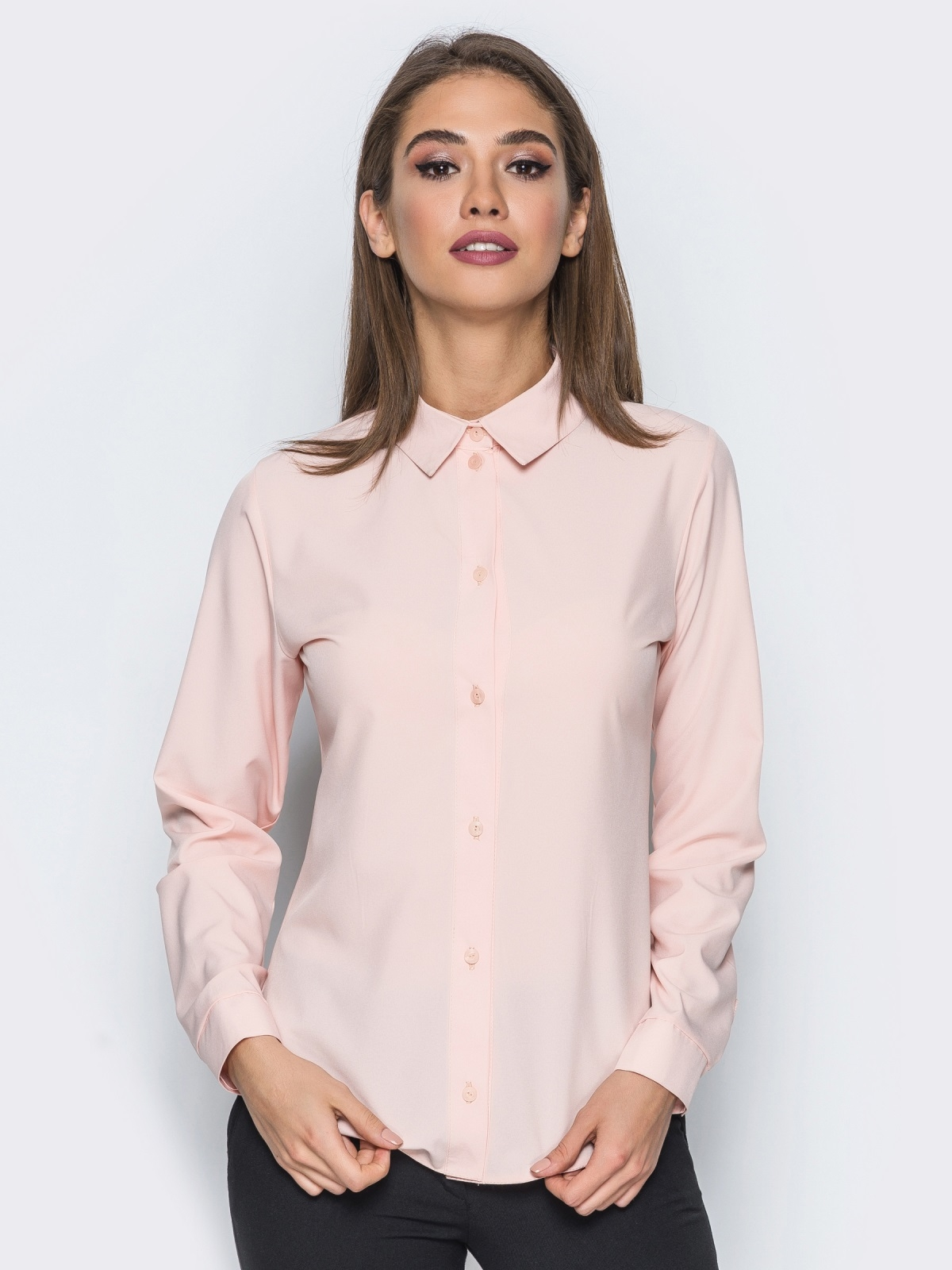 Блузка полуприталенного кроя с функциональными пуговицами розовая - 14229, фото 1 – интернет-магазин Dressa