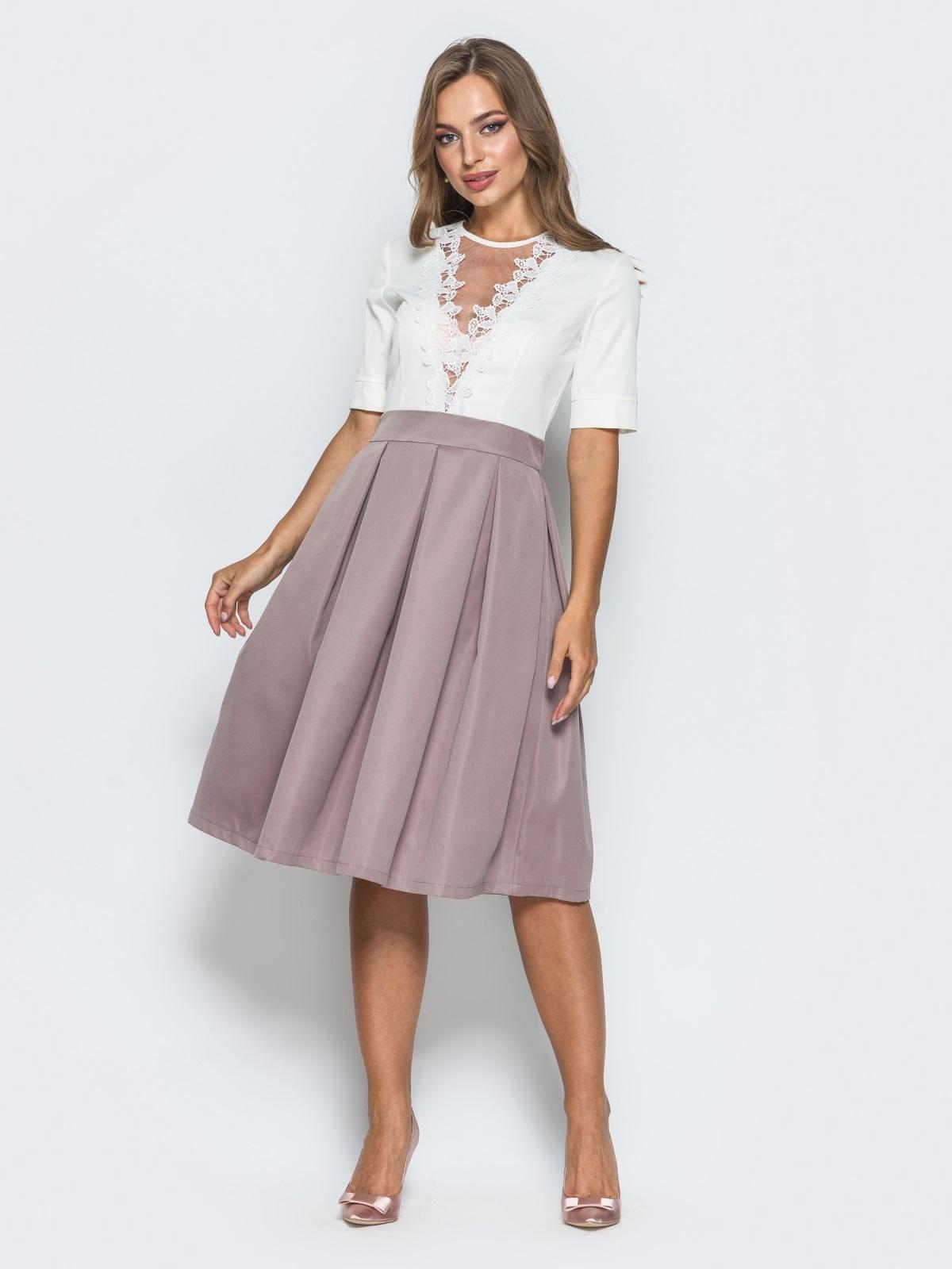 Платье с фатином и кружевом на полочке розовое - 14638, фото 1 – интернет-магазин Dressa