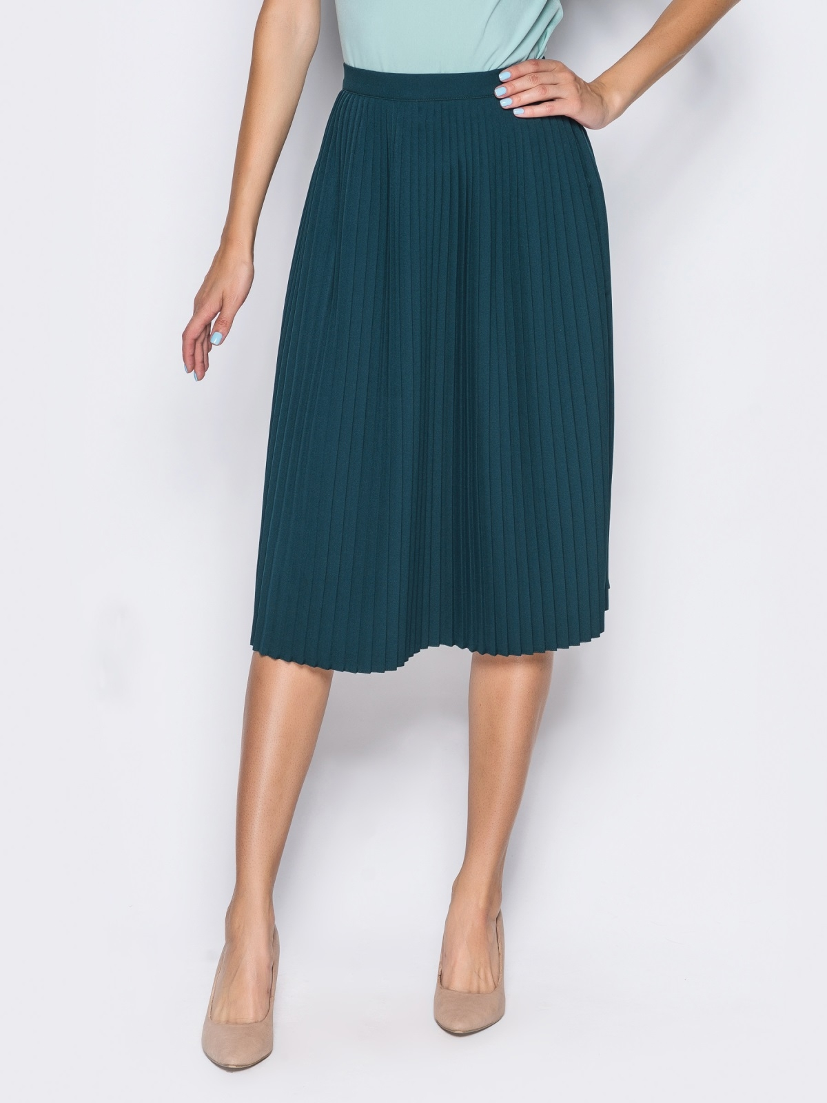 Плиссированная юбка с молнией в боковом шве зелёная - 14352, фото 2 – интернет-магазин Dressa
