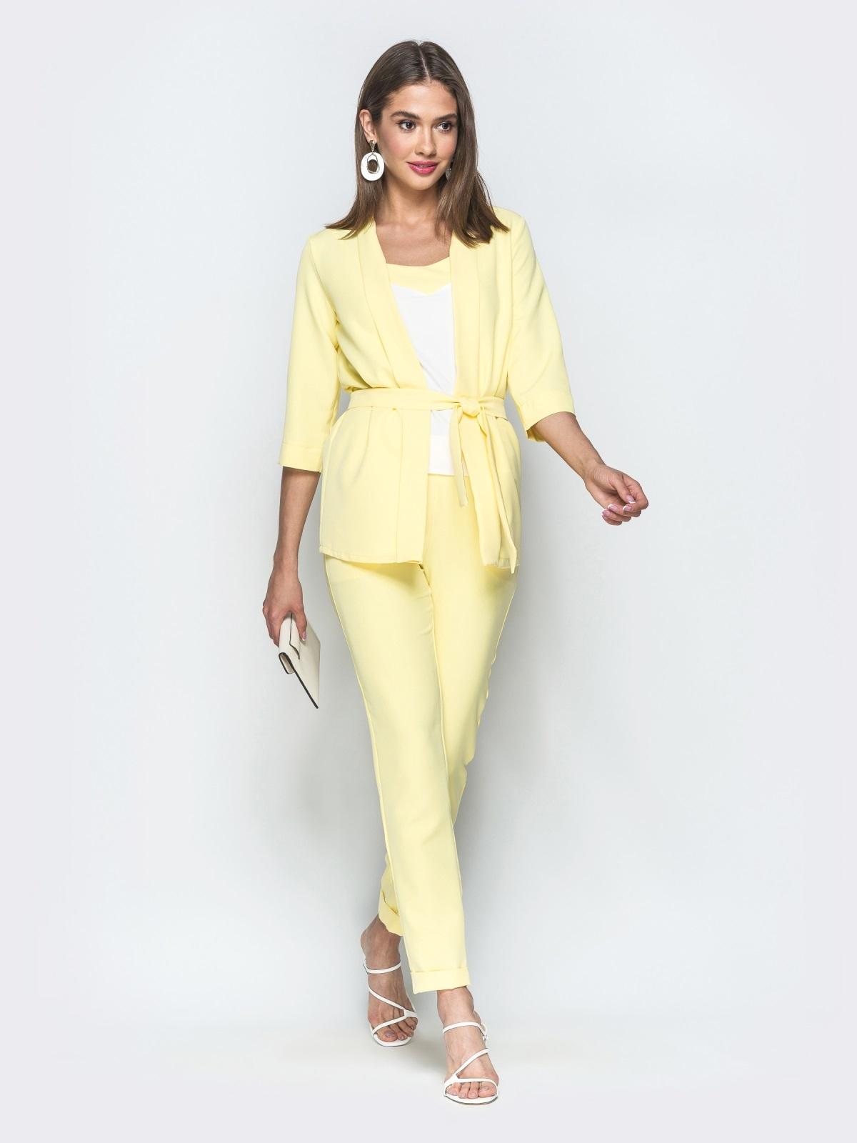 Брючный комплект-тройка с жакетом желтый - 39362, фото 1 – интернет-магазин Dressa