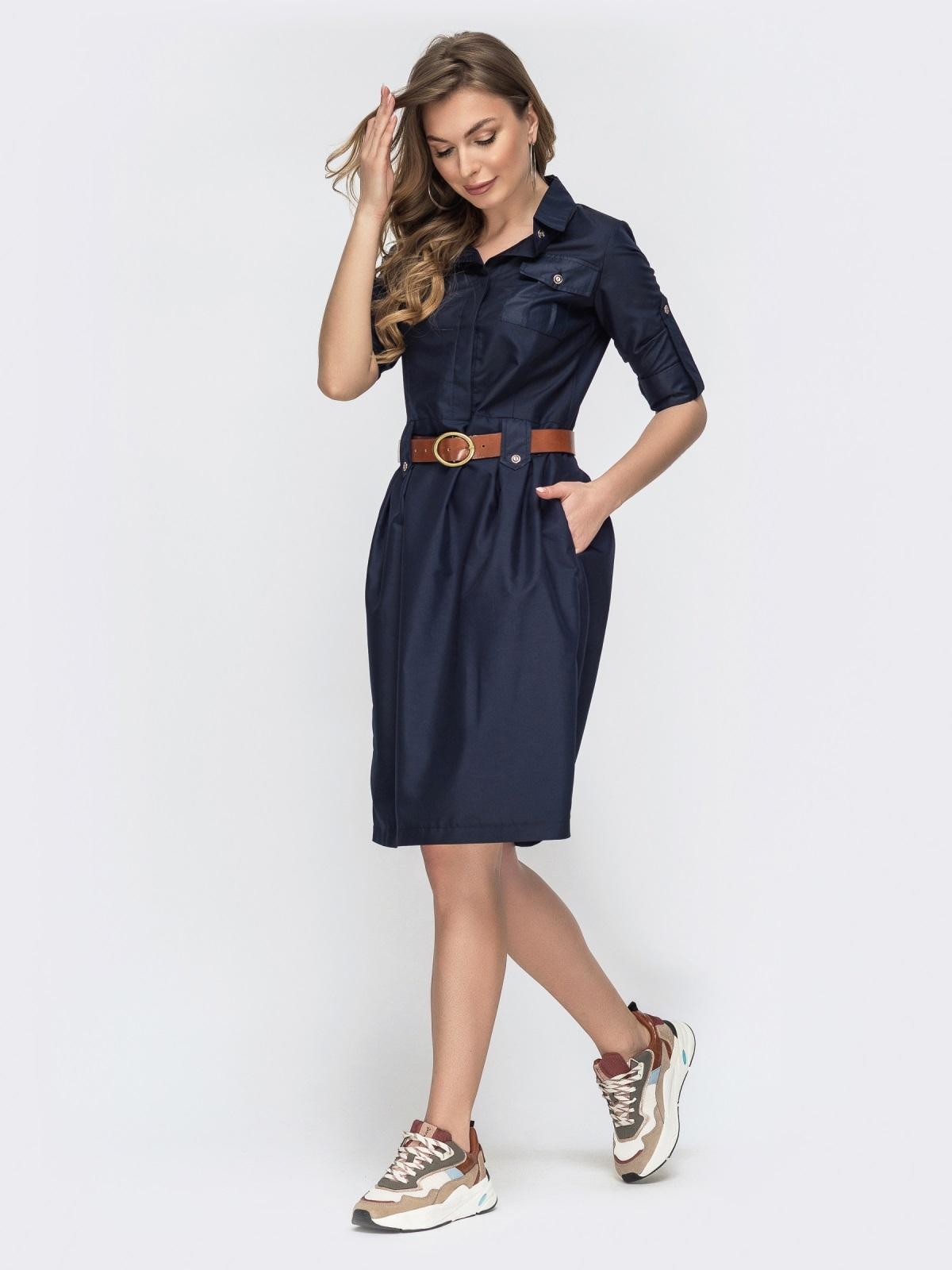 Тёмно-синее платье со шлевками 45788, фото 1