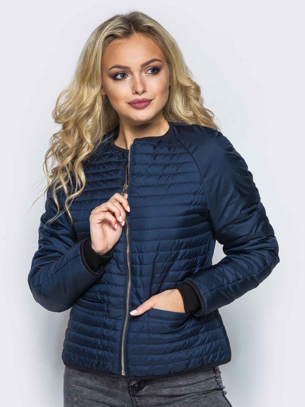 Темно-синяя стеганая куртка с прорезными карманами - 14689, фото 1 – интернет-магазин Dressa