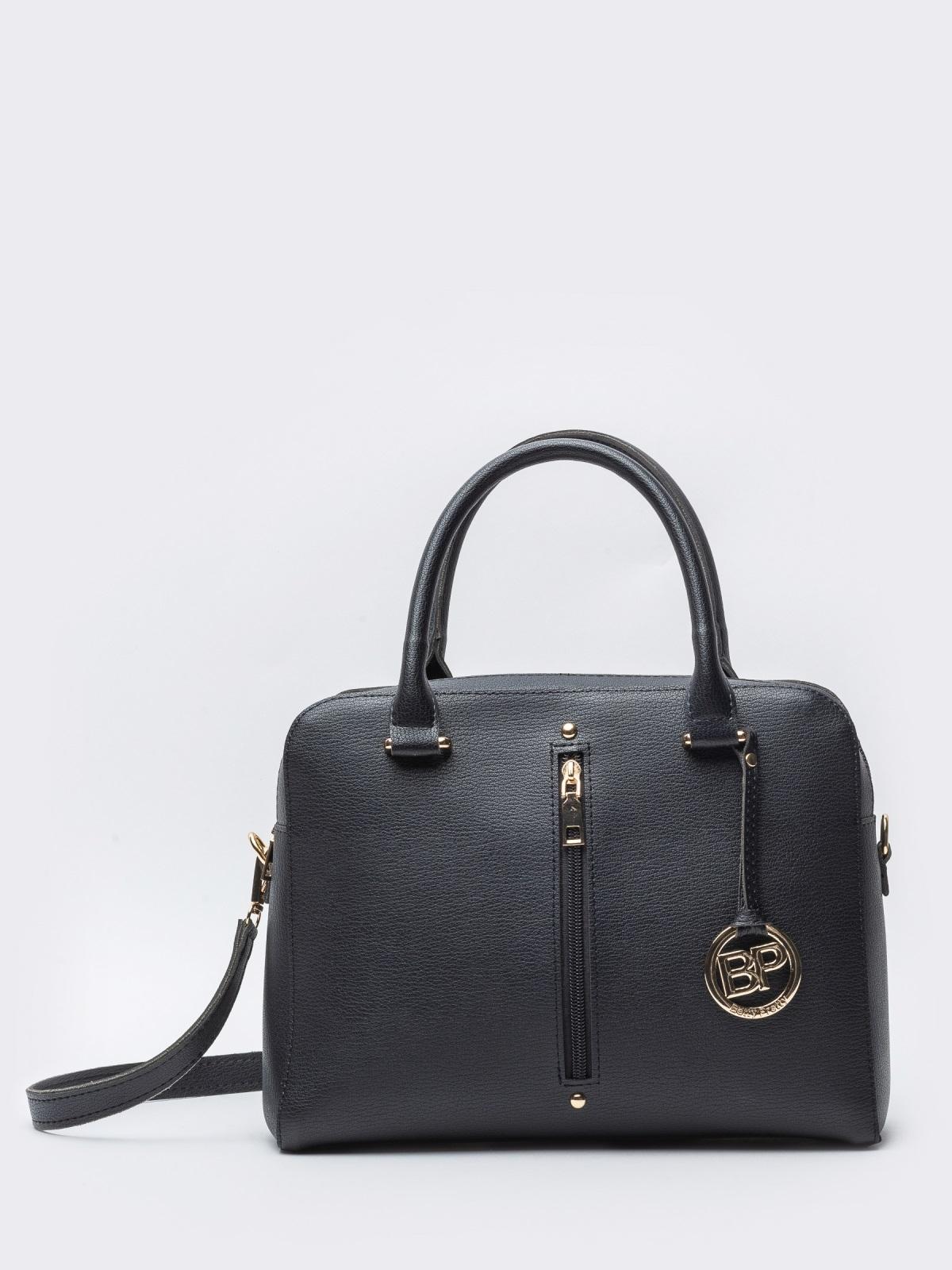 Чёрная сумка-тоут на два отдела с ремешком - 20557, фото 1 – интернет-магазин Dressa
