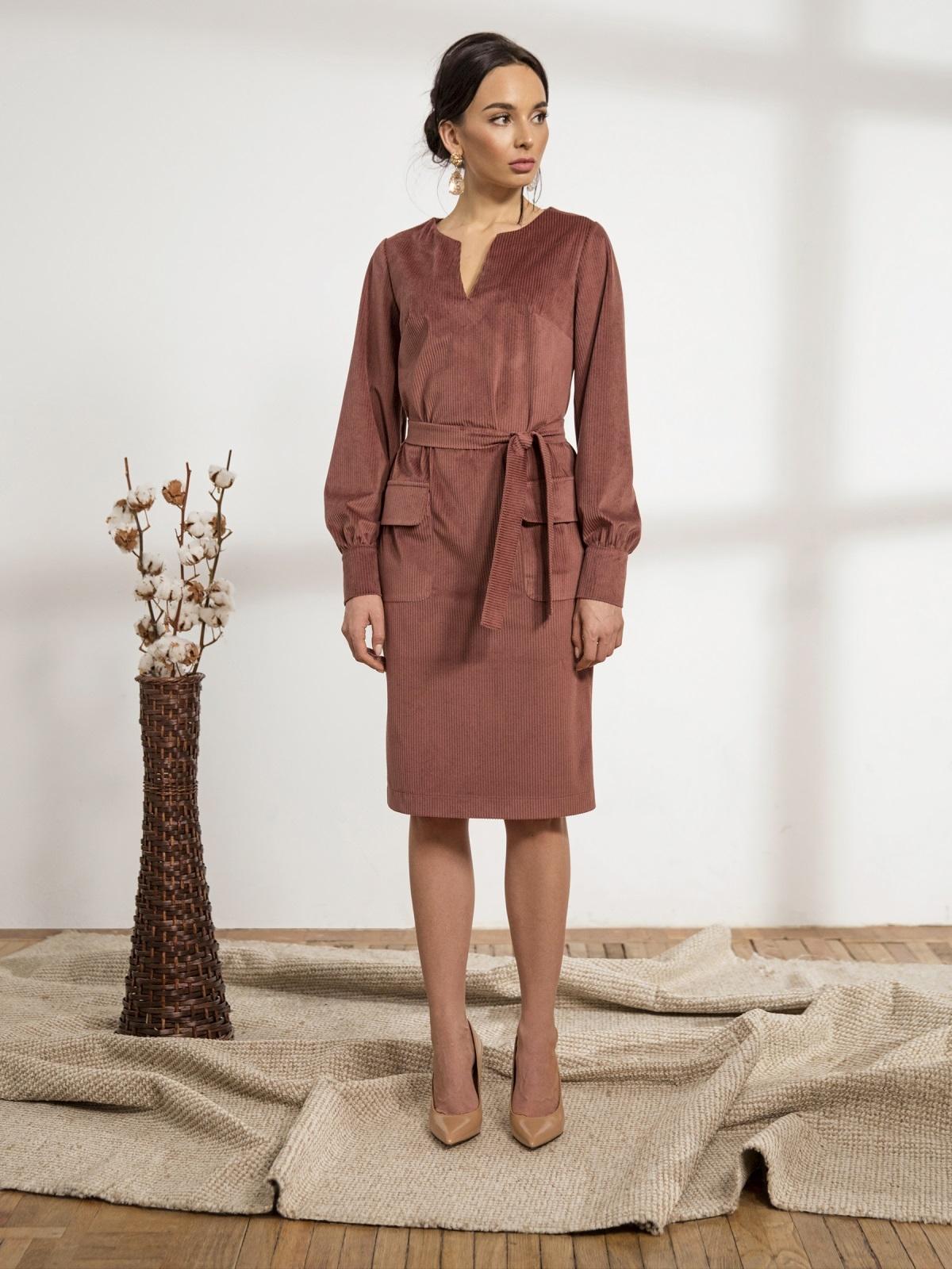 Розовое платье из вельвета с накладными карманами - 44236, фото 1 – интернет-магазин Dressa