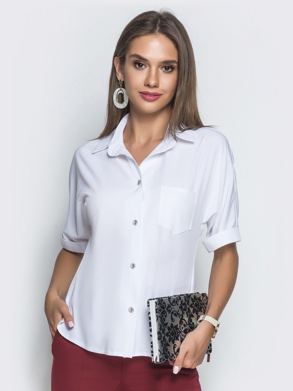Блузка с удлиненной спинкой и разрезами белая 39886, фото 1