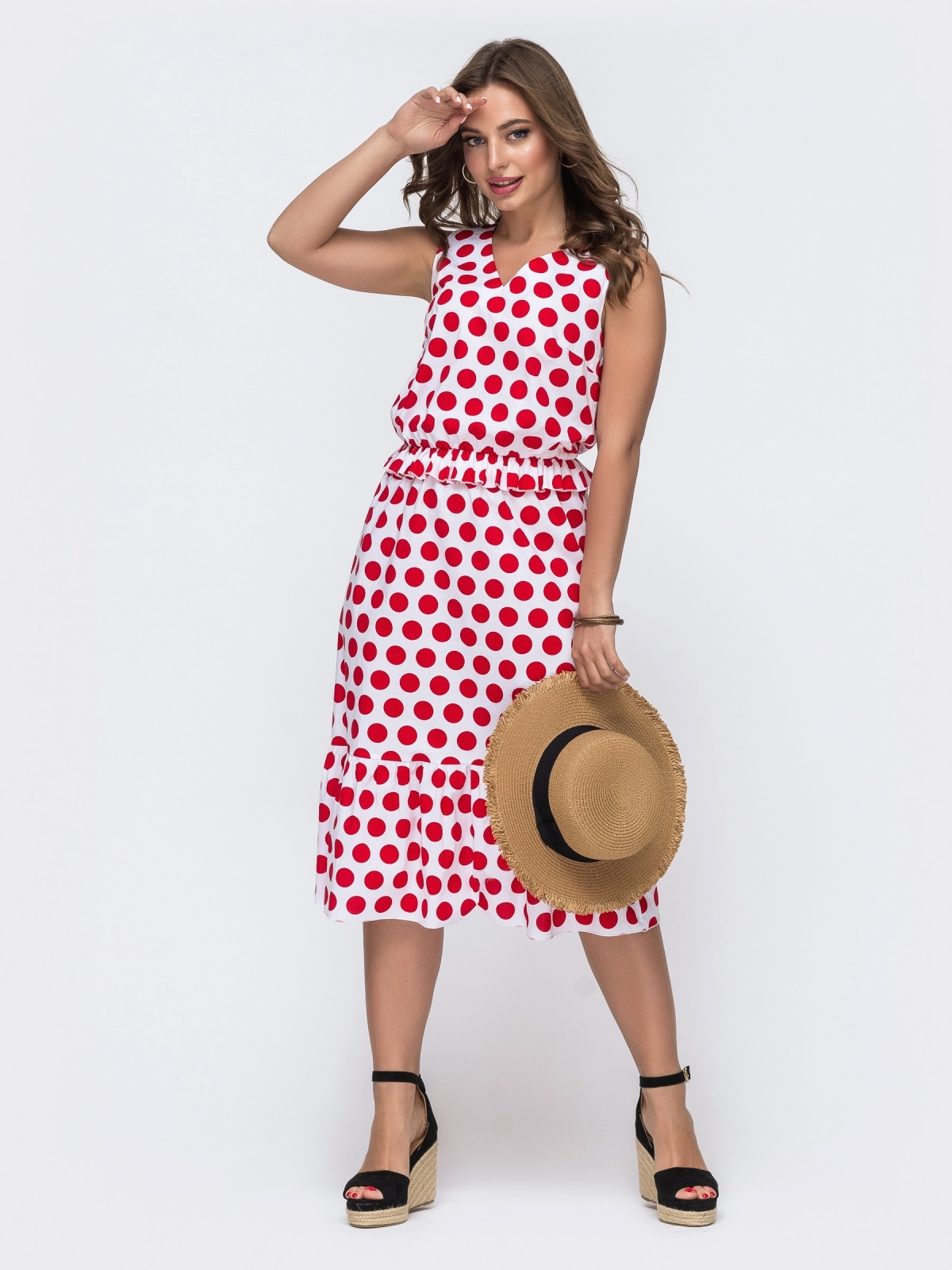 Белое платье в красный горох с воланом по низу - 48052, фото 1 – интернет-магазин Dressa