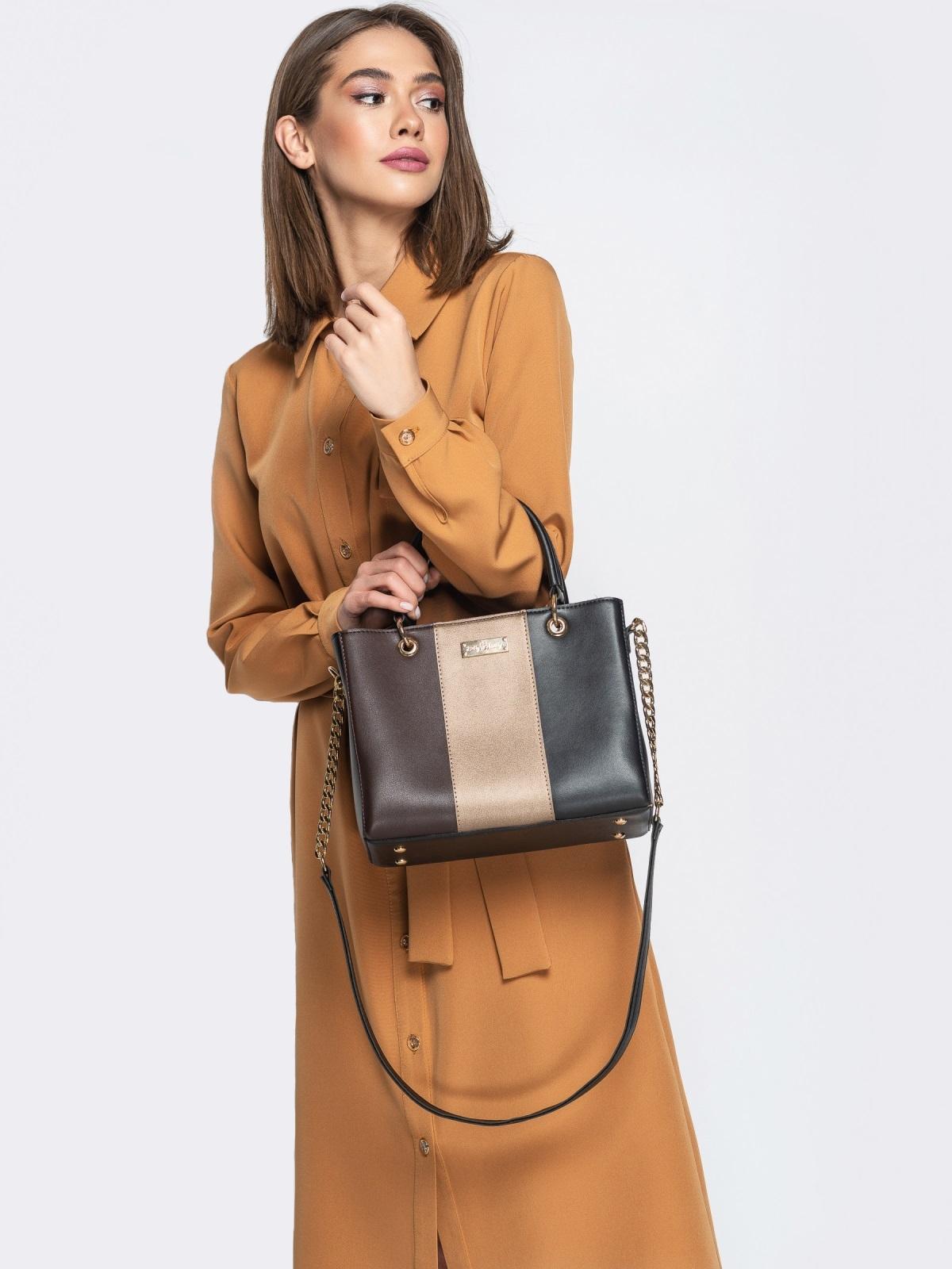 Чёрная сумка-тоут с контрастными вставками - 20555, фото 1 – интернет-магазин Dressa