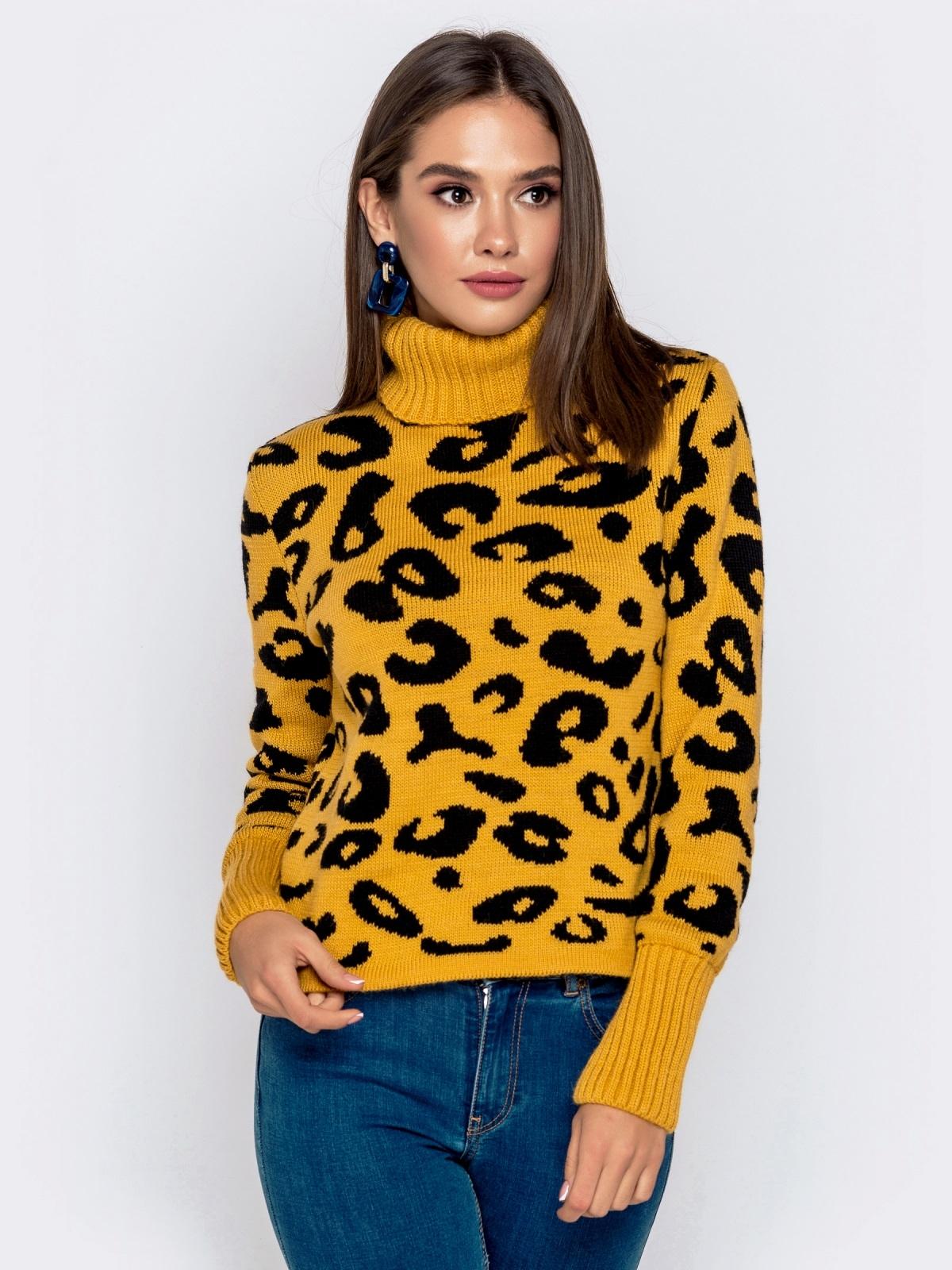 Вязаный свитер с анималистичным узором горчичный - 41142, фото 1 – интернет-магазин Dressa