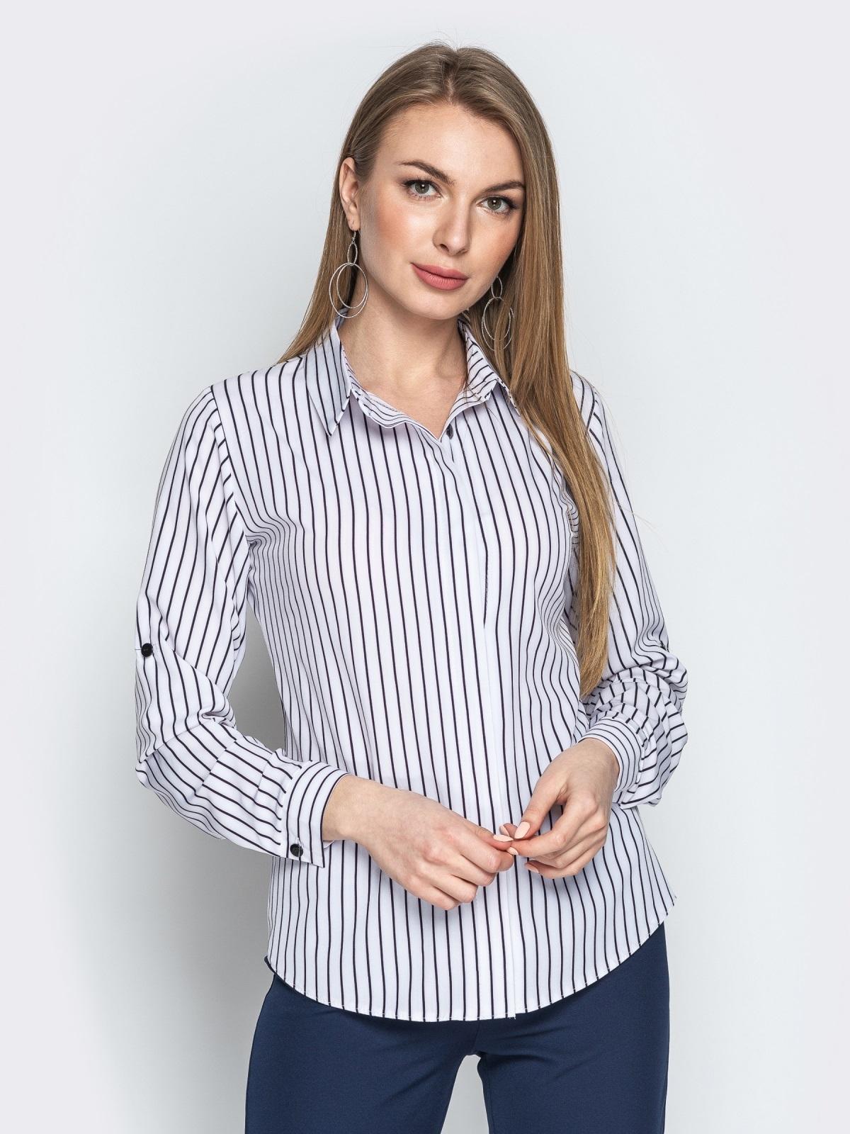 Белая блузка в полоску с супатной застежкой 20875, фото 1