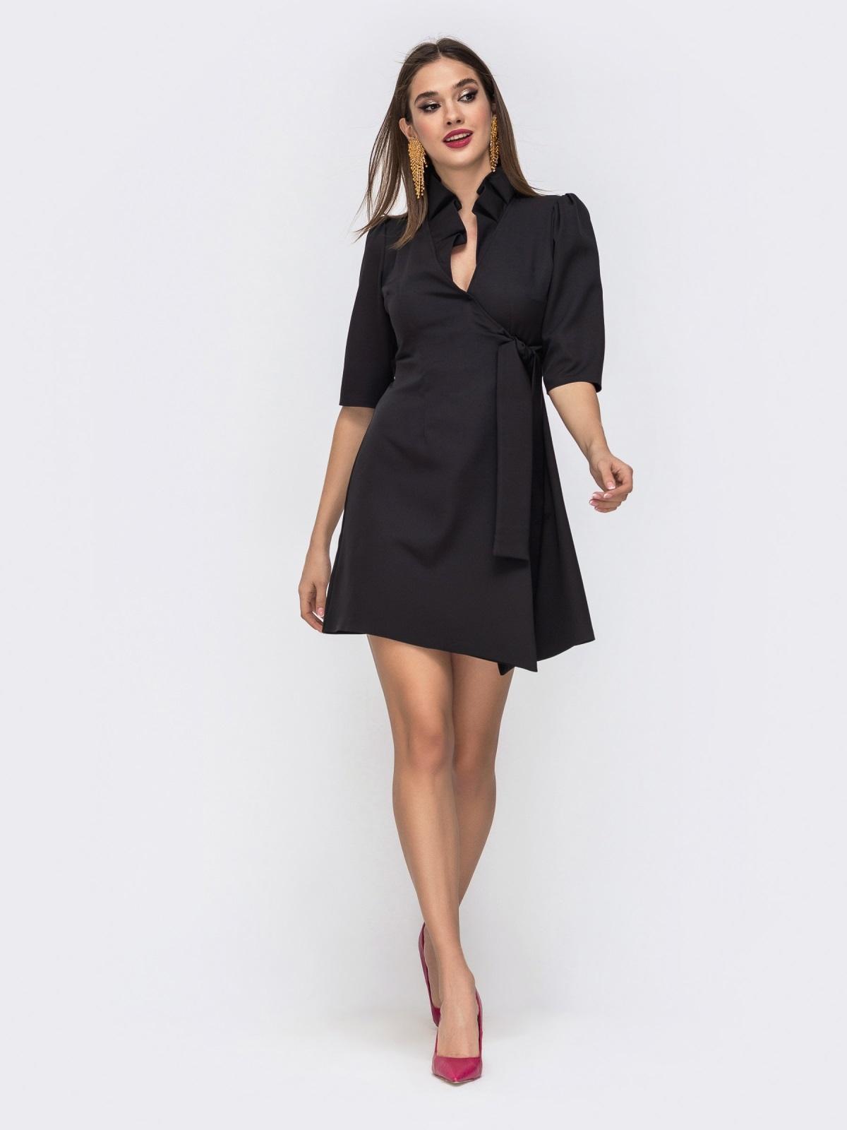 Платье на запах с воланом по вырезу чёрное 42923, фото 1