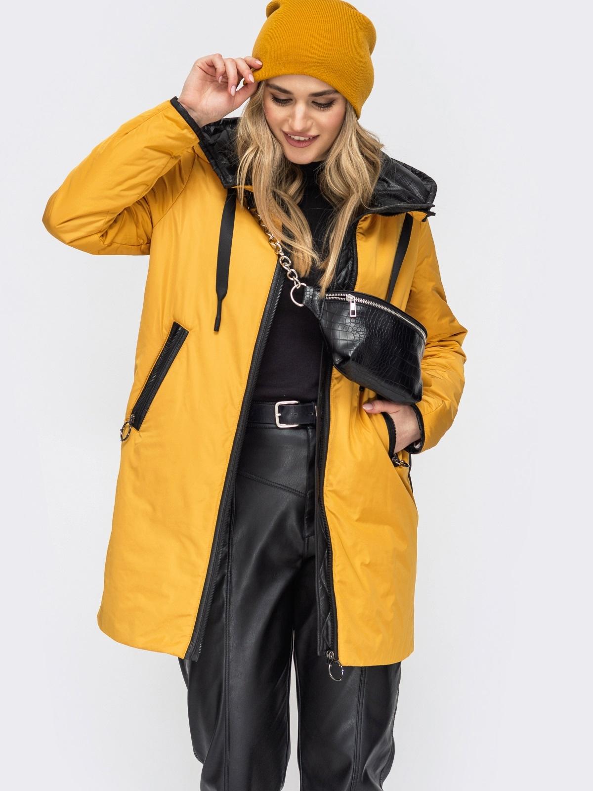 Удлиненная куртка с лампасами по бокам горчичная - 45285, фото 1 – интернет-магазин Dressa