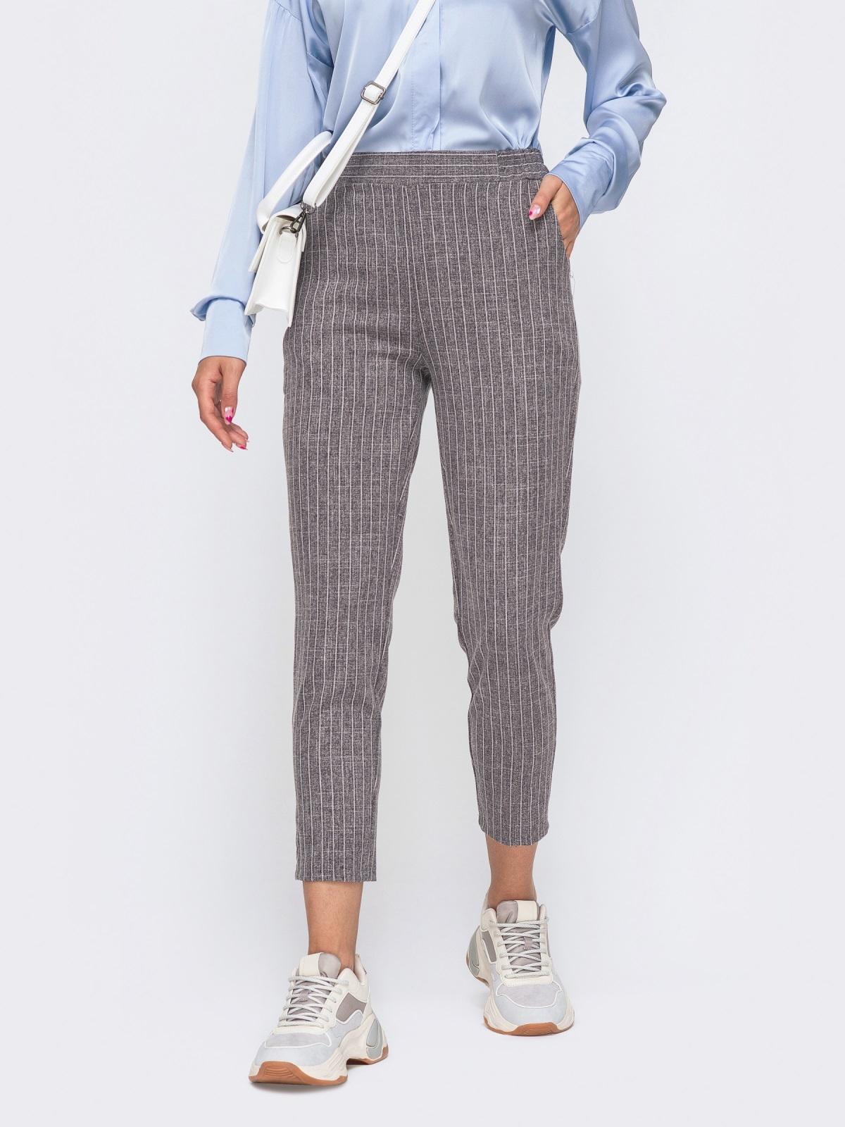 Укороченные брюки в полоску с завышенной посадкой серые 50504, фото 1