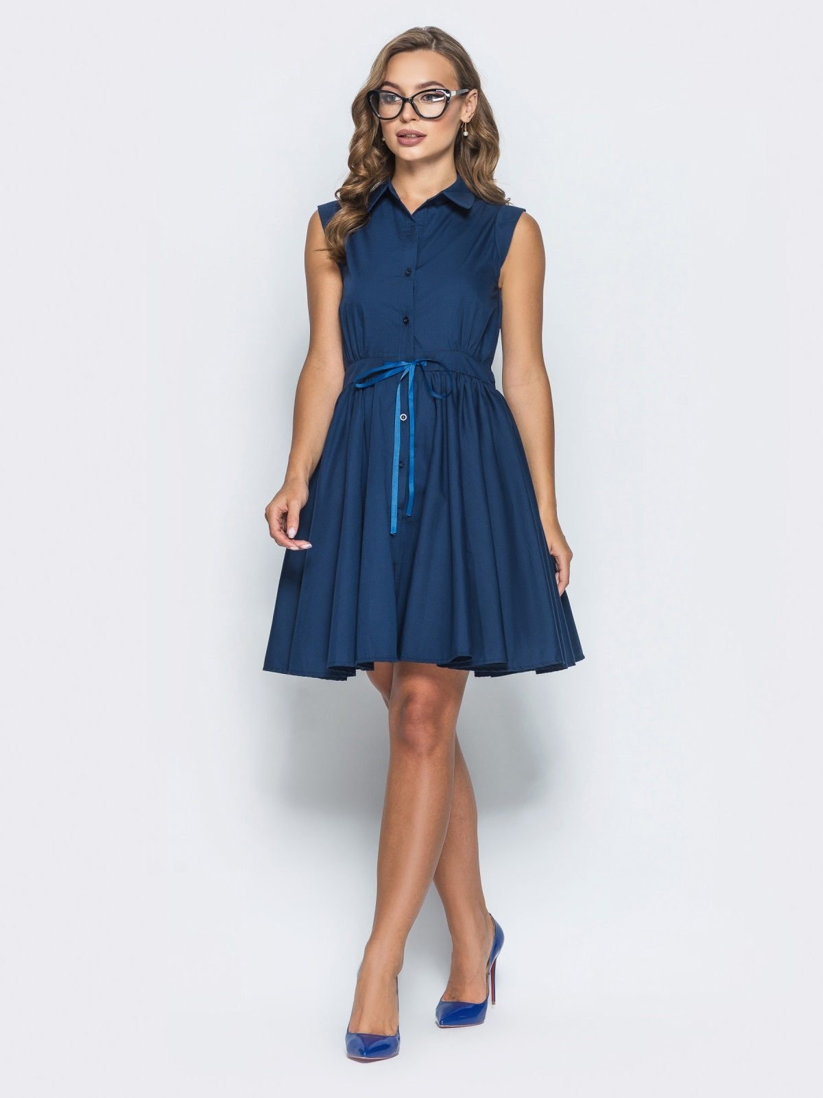 Хлопковое платье с объемной юбкой тёмно-синее - 14615, фото 1 – интернет-магазин Dressa