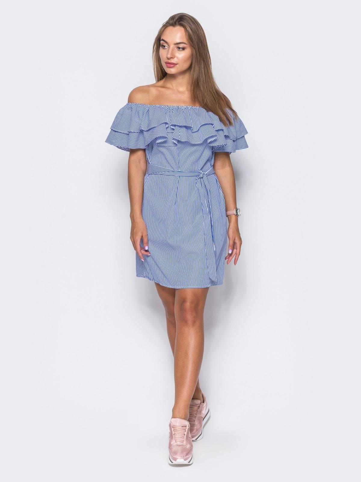 Платье с открытыми плечами и пышной двойной оборкой - 10872, фото 1 – интернет-магазин Dressa