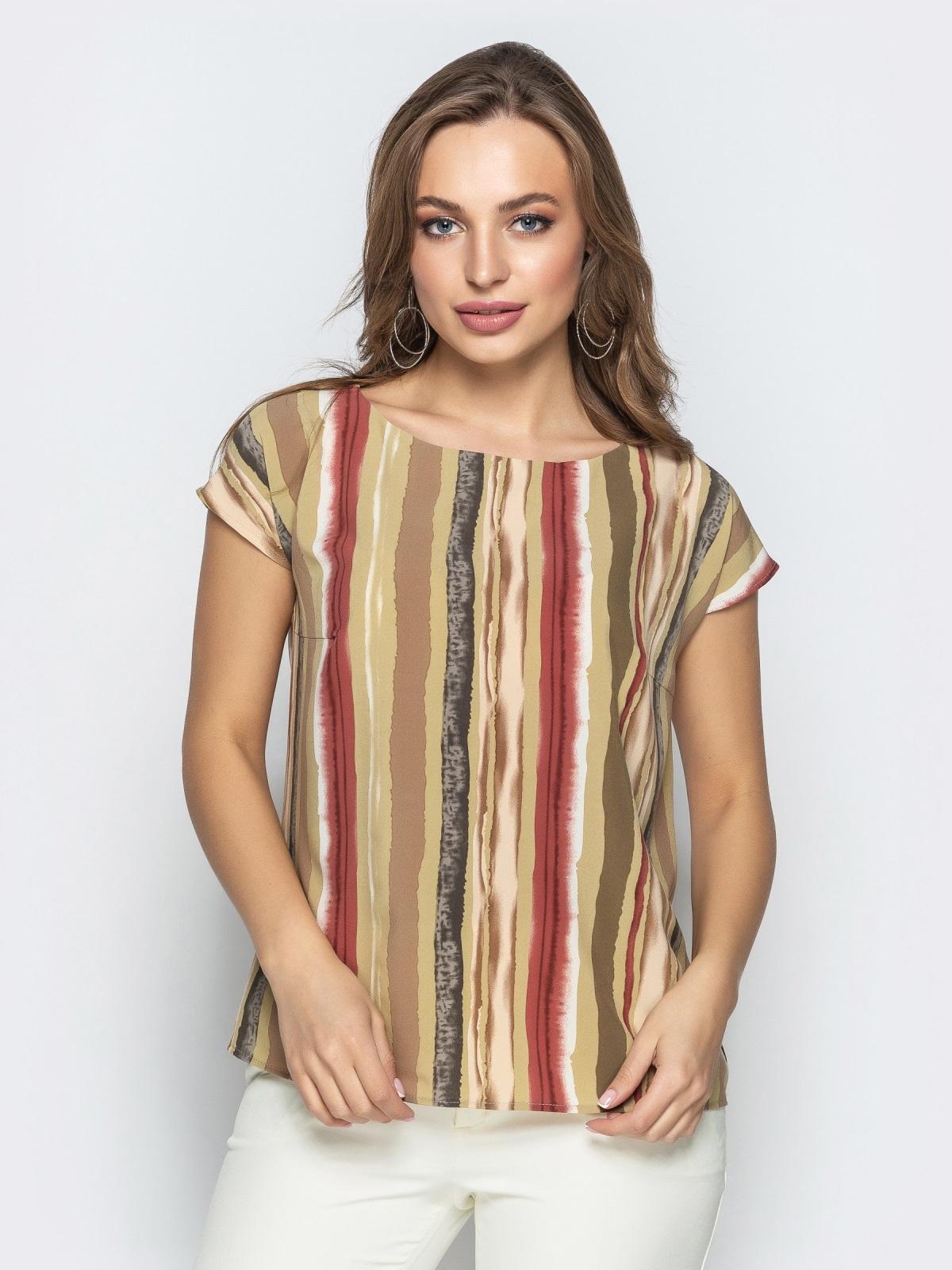 Прямая блузка из принтованного софта хаки - 22281, фото 1 – интернет-магазин Dressa