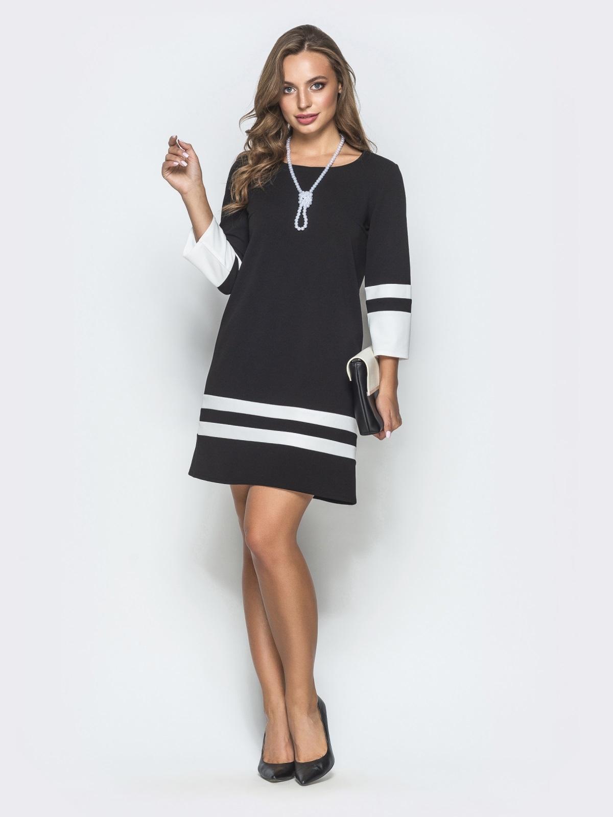 Чёрное платье-трапеция с контрастными вставками - 39826, фото 1 – интернет-магазин Dressa