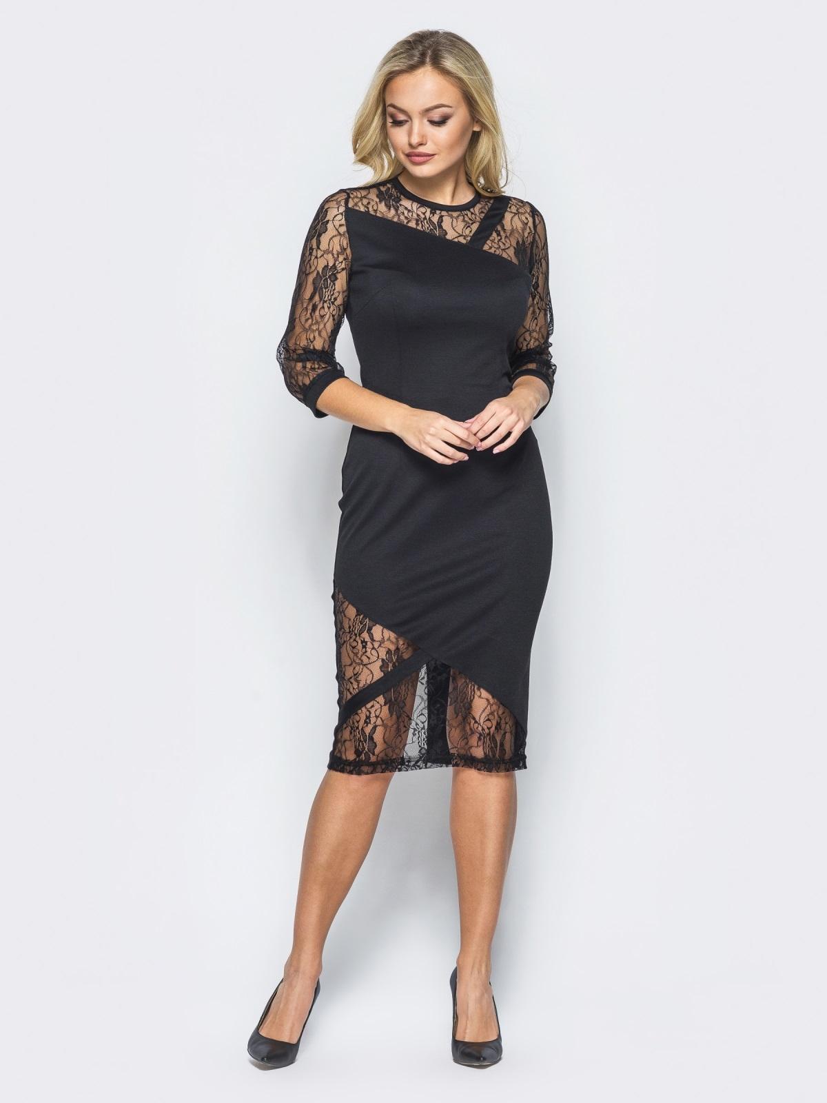 Черное трикотажное платье на молнии со вставками из гипюра - 16152, фото 1 – интернет-магазин Dressa