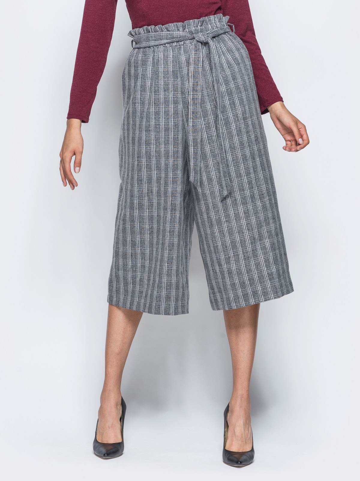Клетчатые брюки-кюлоты с поясом на резинке 15628, фото 1