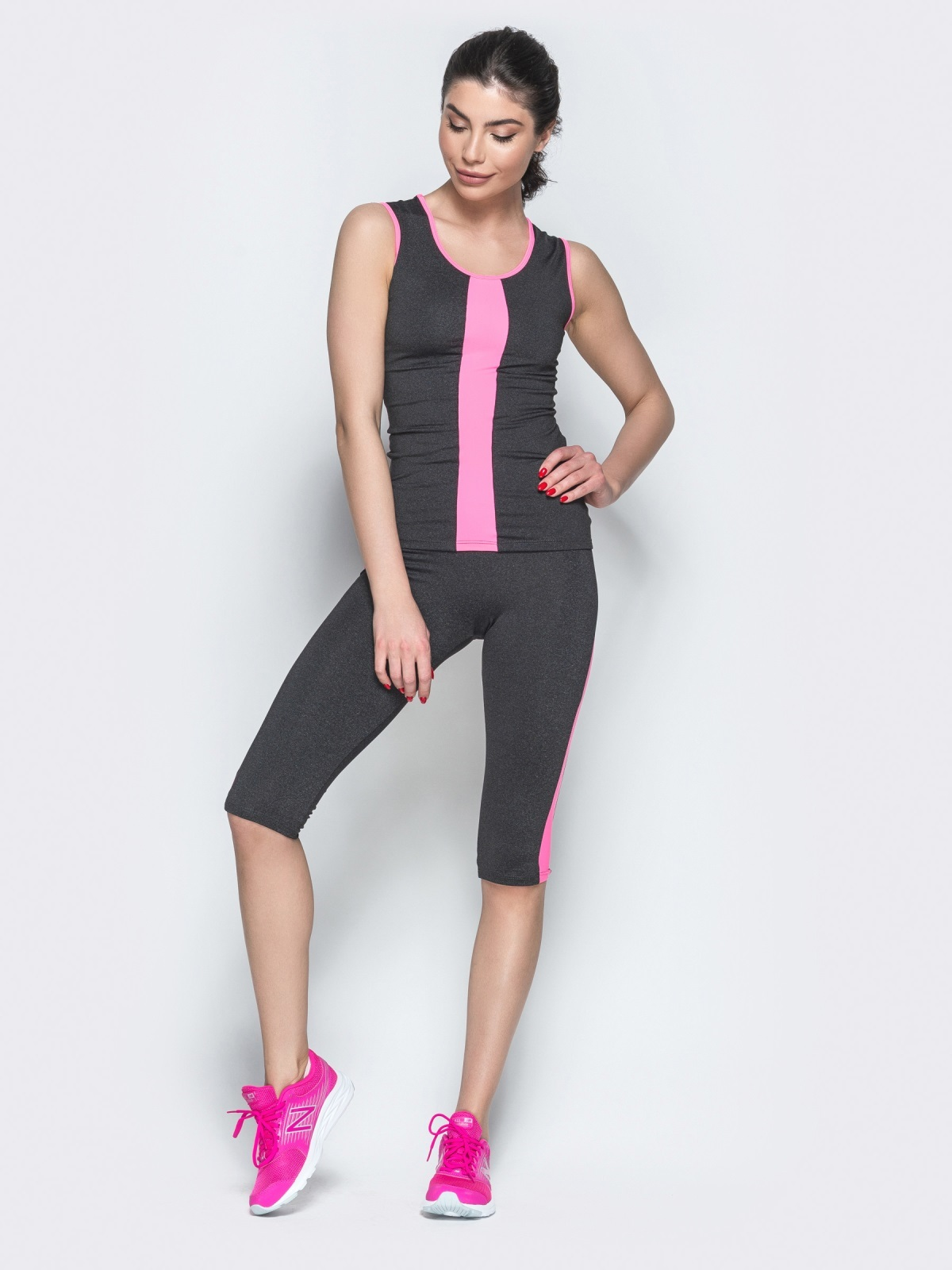 Комплект для фитнеса из майки и бридж с розовыми вставками - 38775, фото 1 – интернет-магазин Dressa