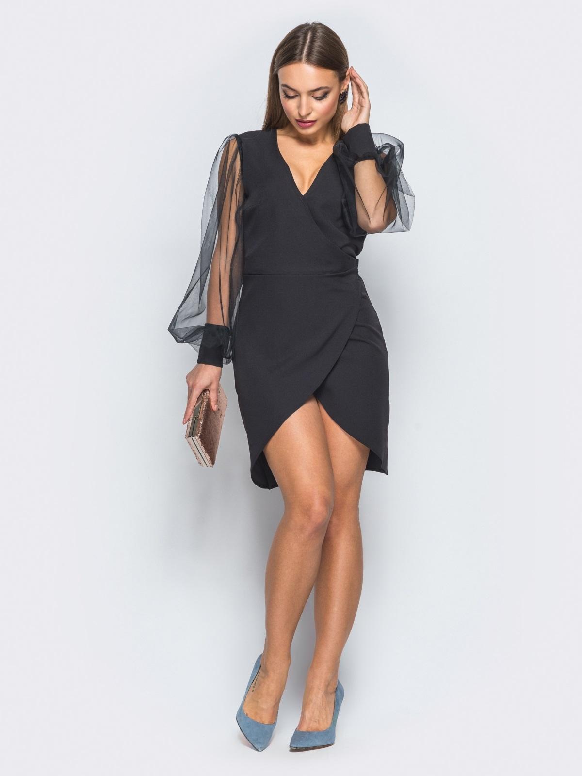 Платье с запахом и фатиновыми рукавами черное - 18178, фото 1 – интернет-магазин Dressa