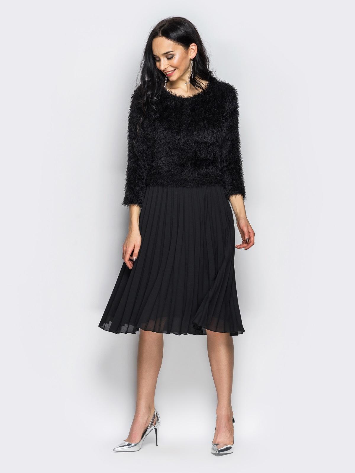Необычное платье с юбкой-плиссе черное - 10926, фото 1 – интернет-магазин Dressa