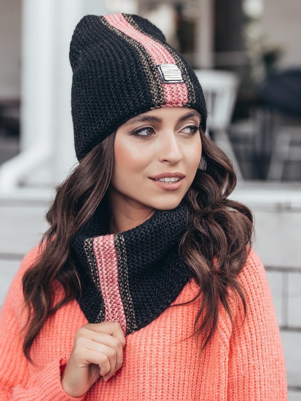 Комплект с контрастнй вязкой из шапки и хомута чёрный 40446, фото 1
