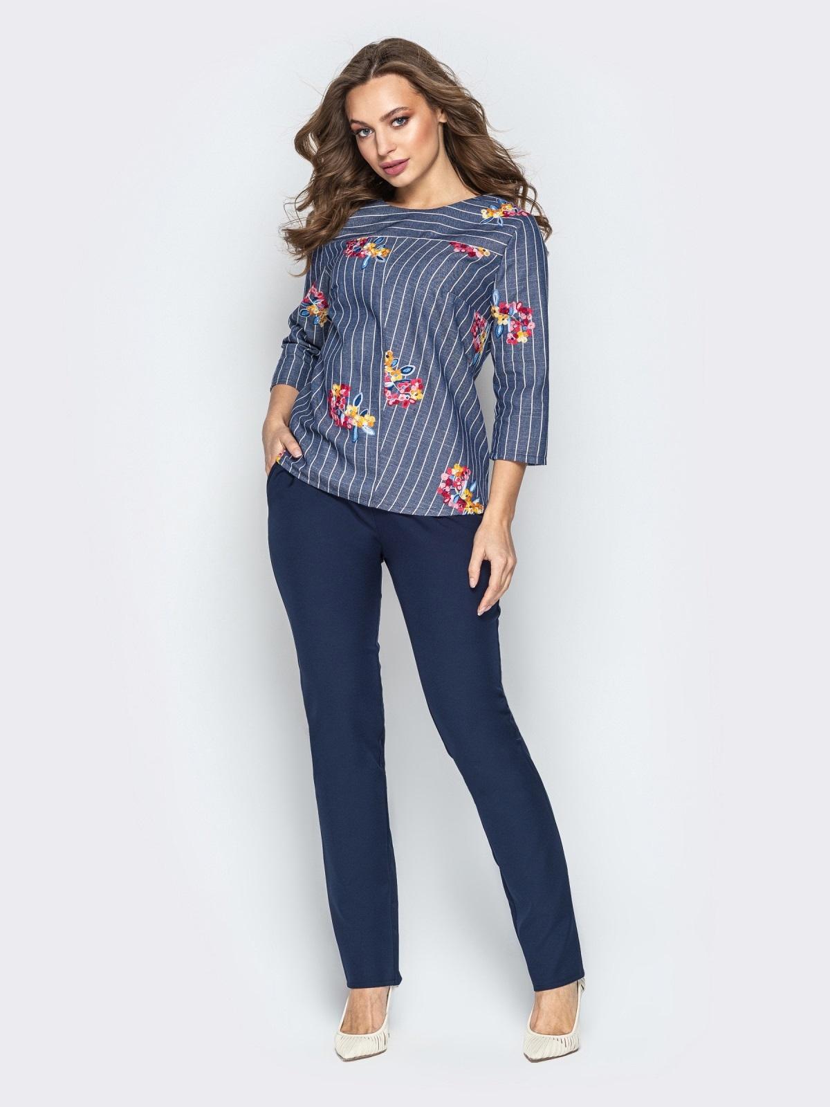 Синий комплект с брюками-дудочками и принтованной кофтой - 21173, фото 1 – интернет-магазин Dressa