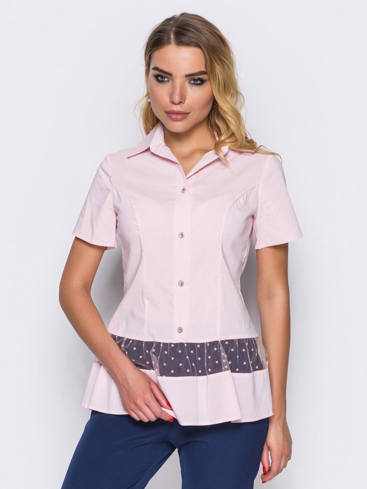 Блузка с фатином по волану розовая - 14174, фото 1 – интернет-магазин Dressa