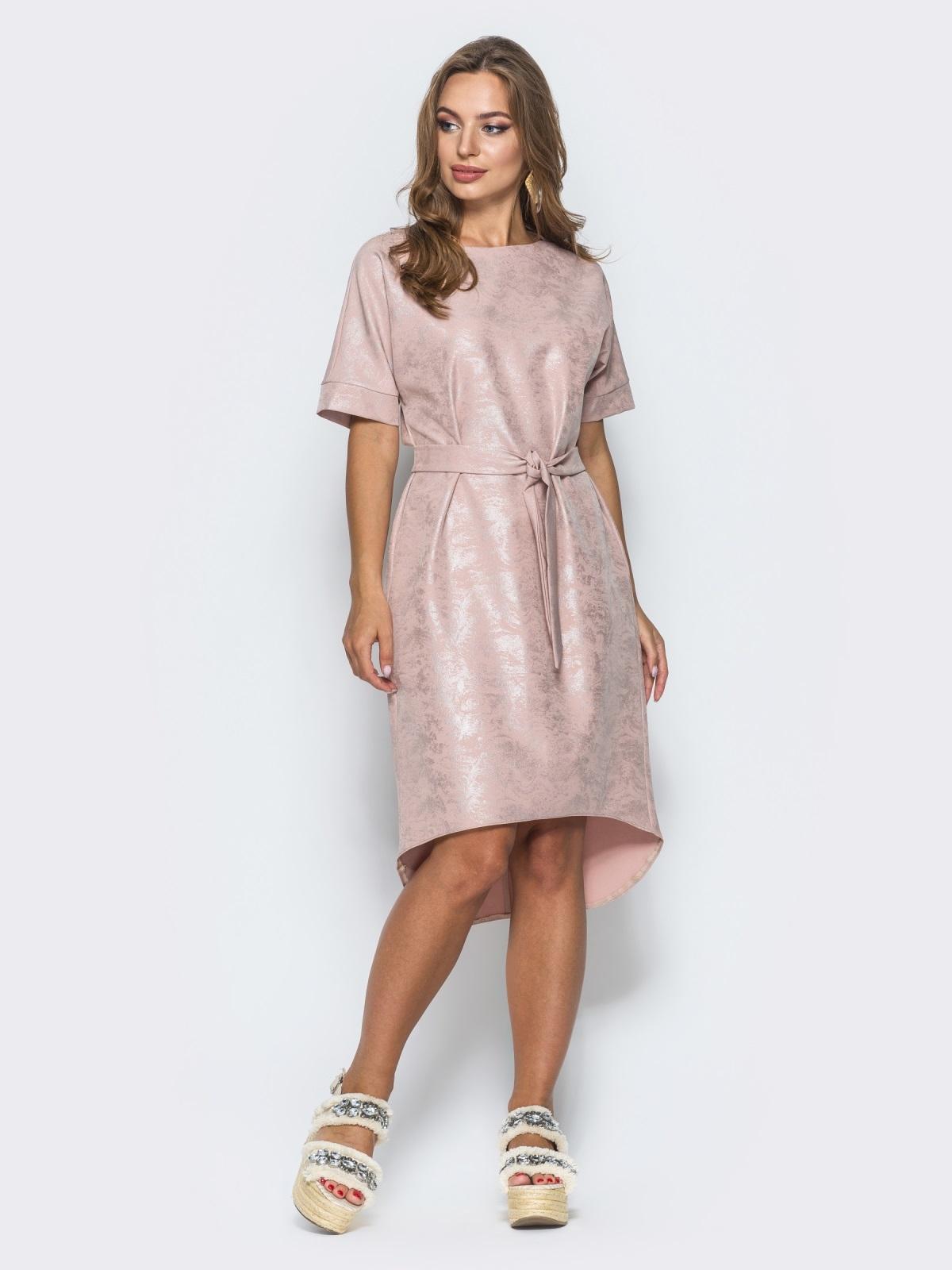Платье с цельнокроенным рукавом и удлиненной спинкой бежевое - 14669, фото 1 – интернет-магазин Dressa