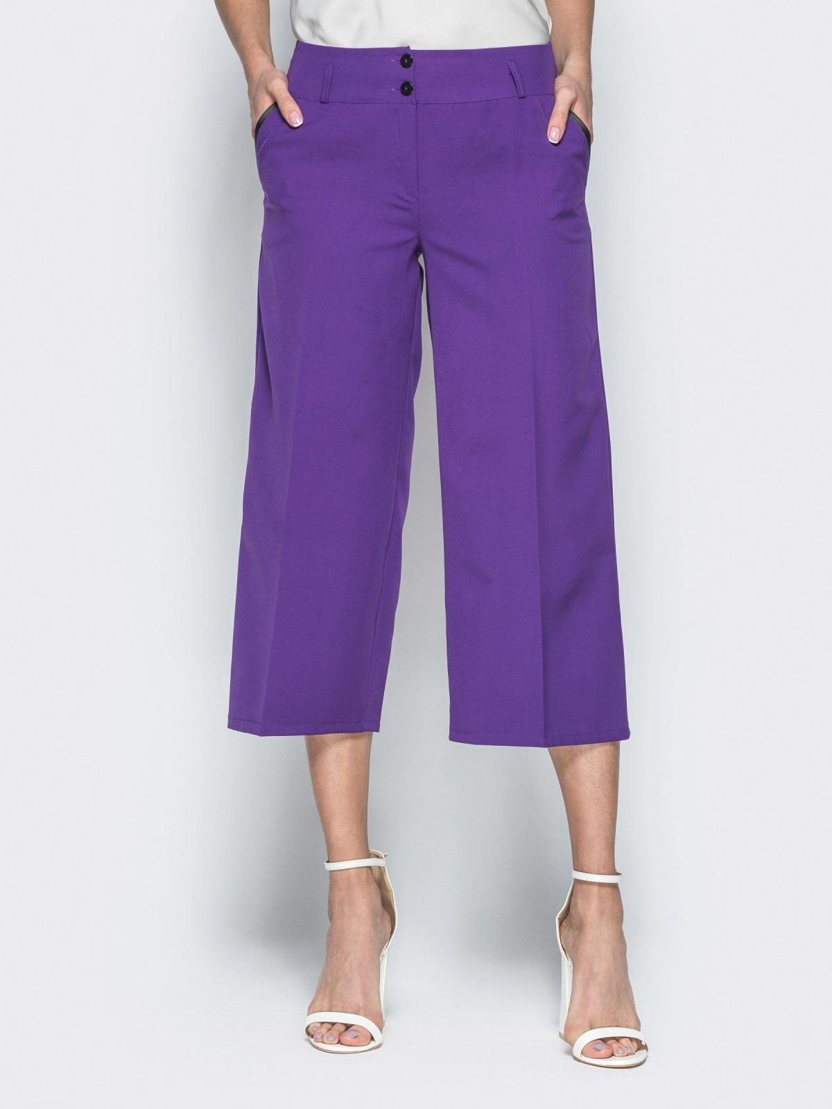 Укороченные брюки-кюлоты с карманами фиолетовые 38547, фото 1