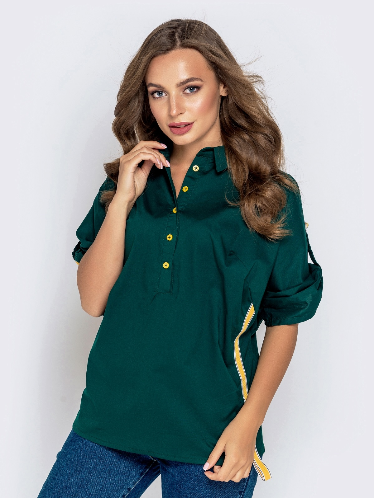 Зеленая рубашка со шлевками на рукавах 40832, фото 1