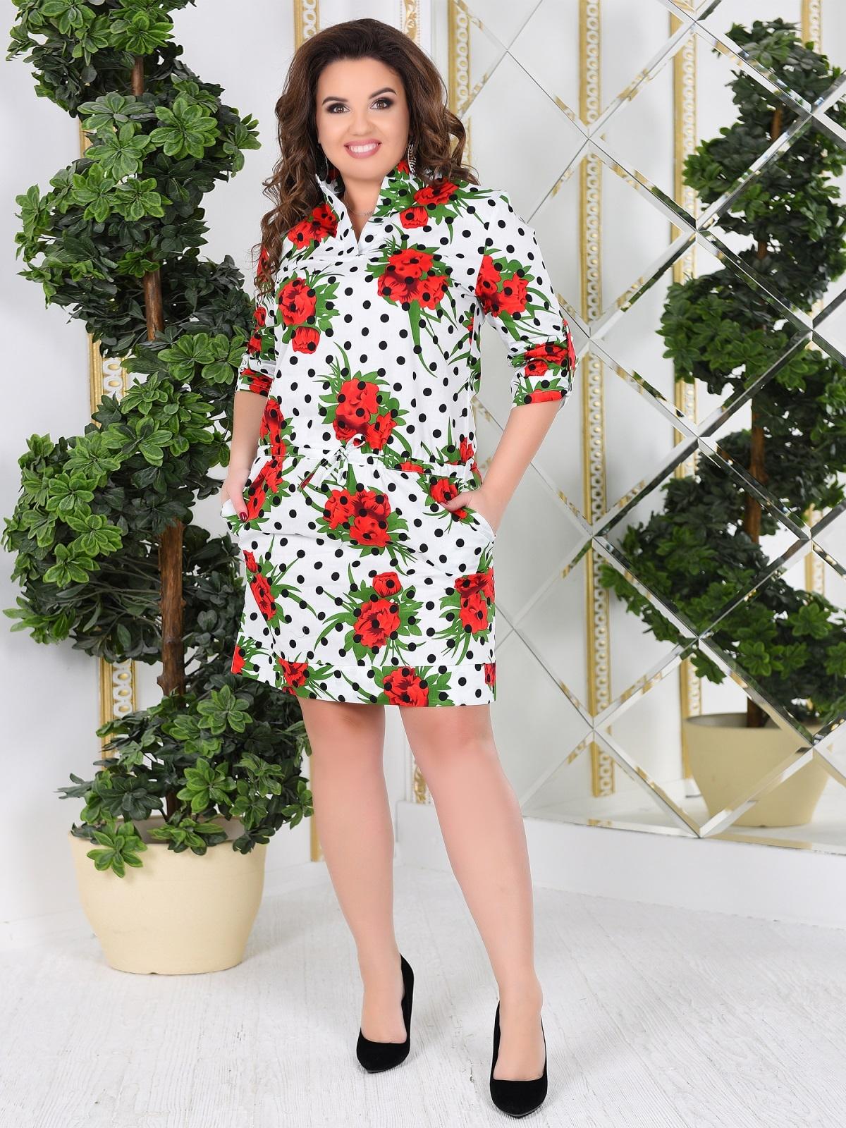Белое платье-рубашка большого размера с принтом - 47994, фото 1 – интернет-магазин Dressa