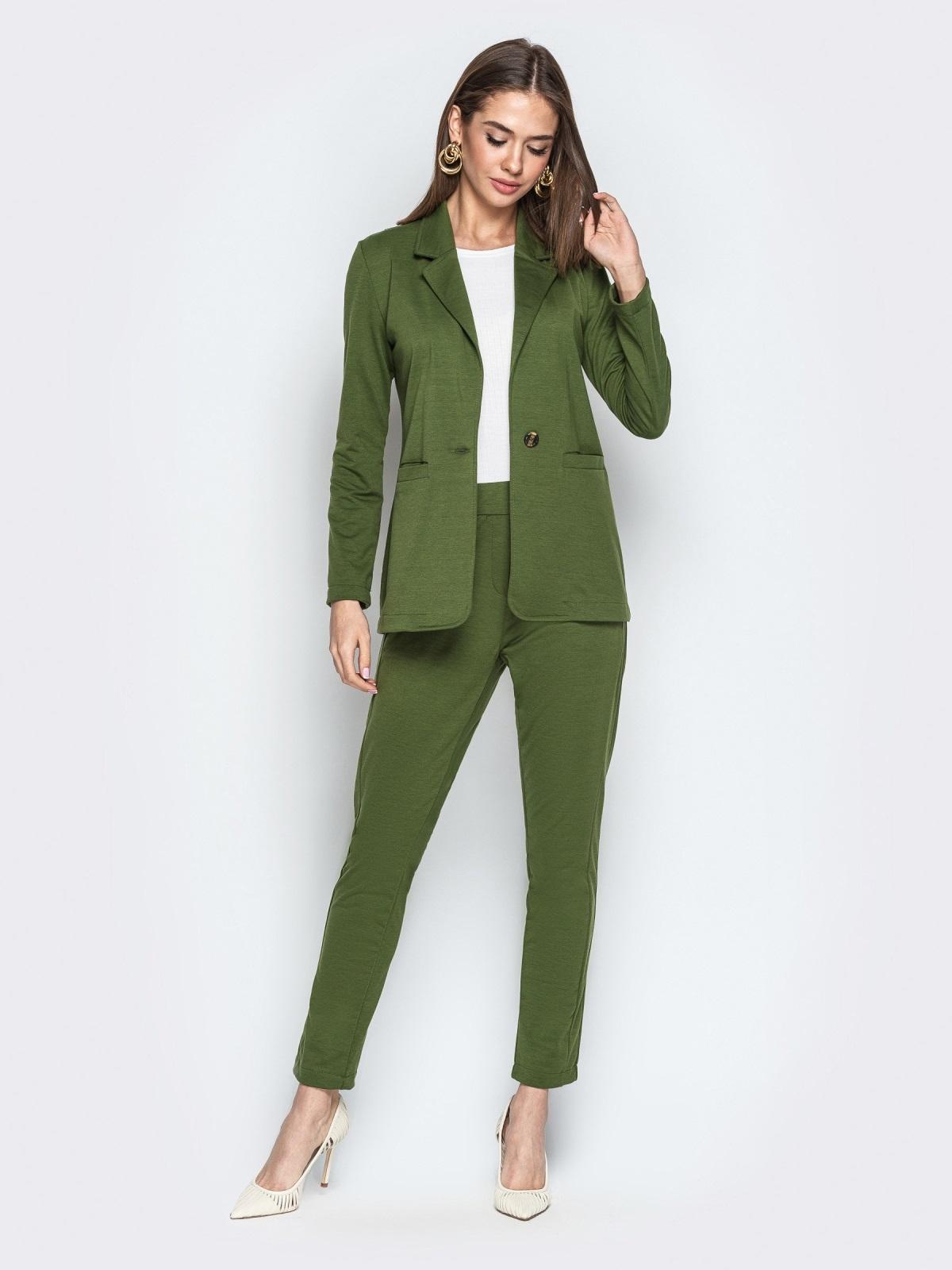 Комплект с брюками на резинке хаки - 20839, фото 1 – интернет-магазин Dressa