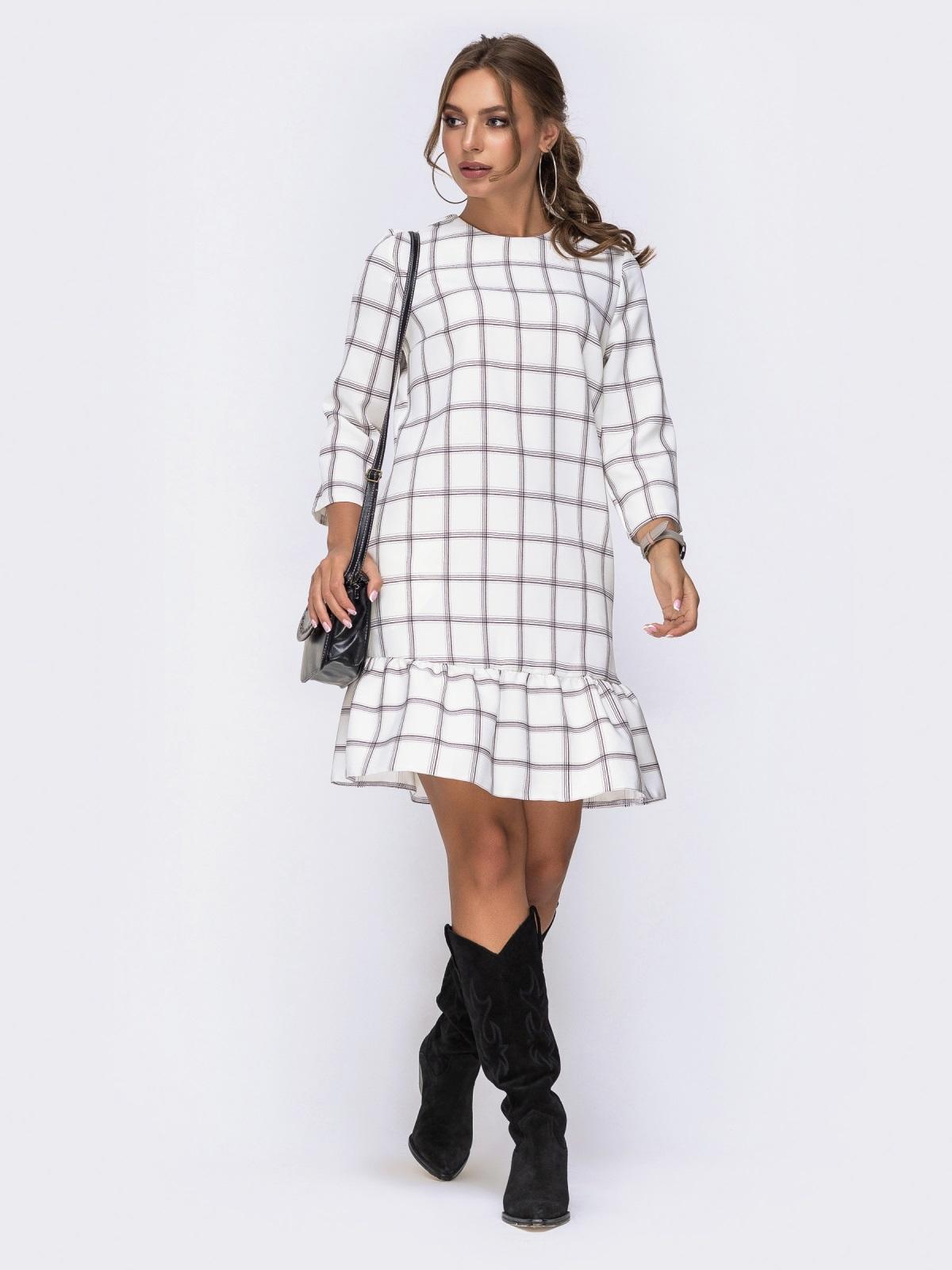 Платье с оборкой по низу и рукавами 3/4 белое - 42163, фото 1 – интернет-магазин Dressa