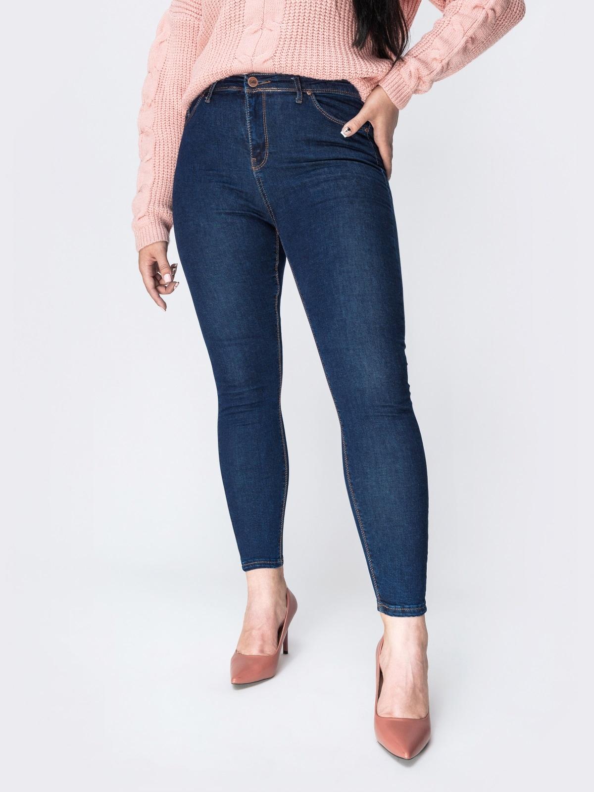 Тёмно-синие джинсы-скинни с карманами - 41939, фото 1 – интернет-магазин Dressa