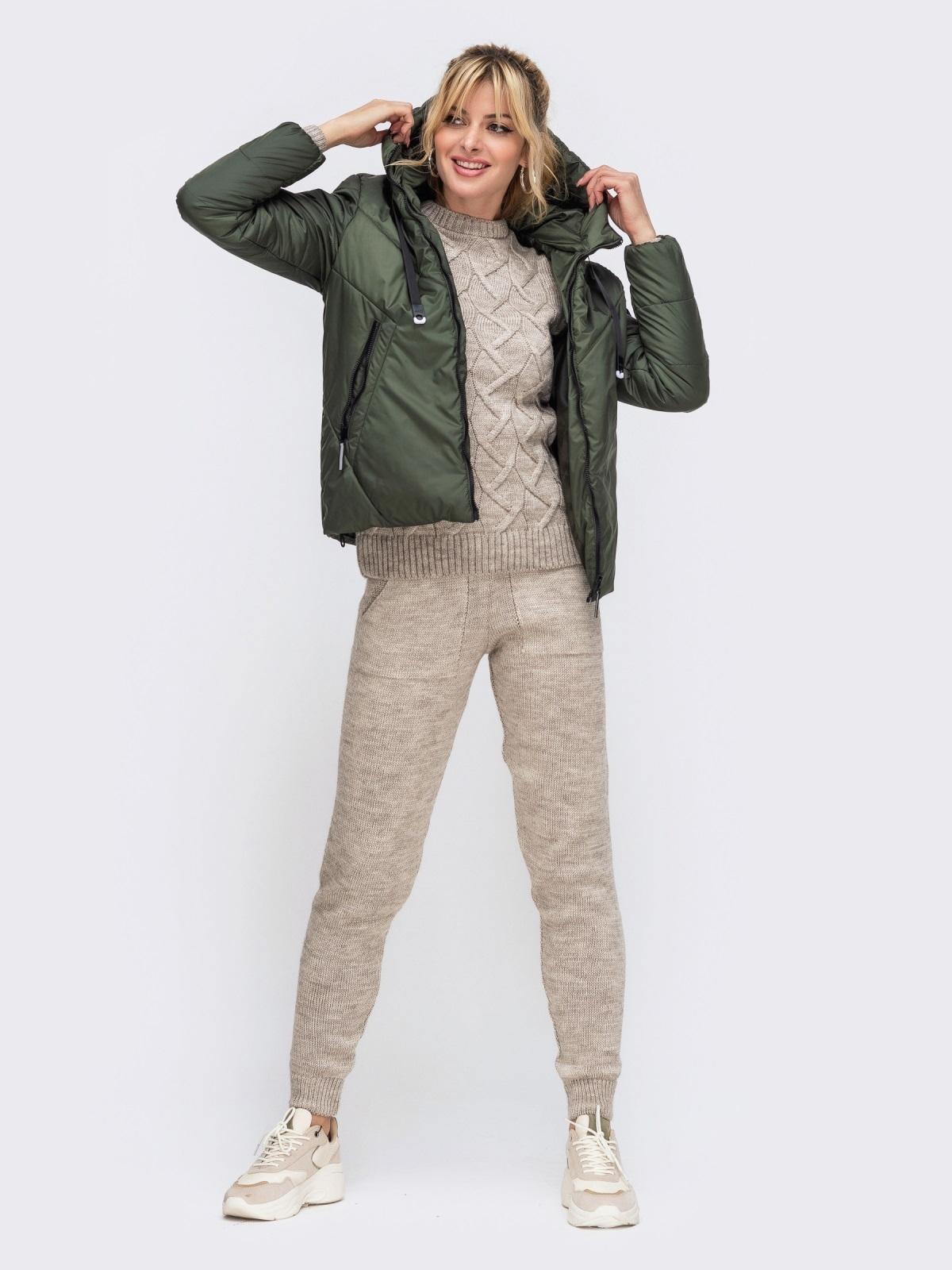 Вязаный комплект из свитера и брюк бежевый 50184, фото 1