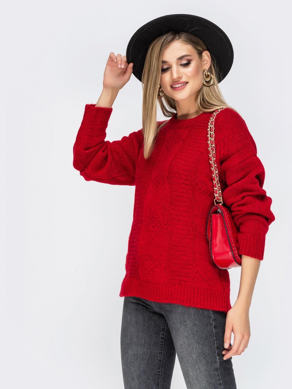 Ажурный свитер с разрезами по бокам красный - 41834, фото 1 – интернет-магазин Dressa