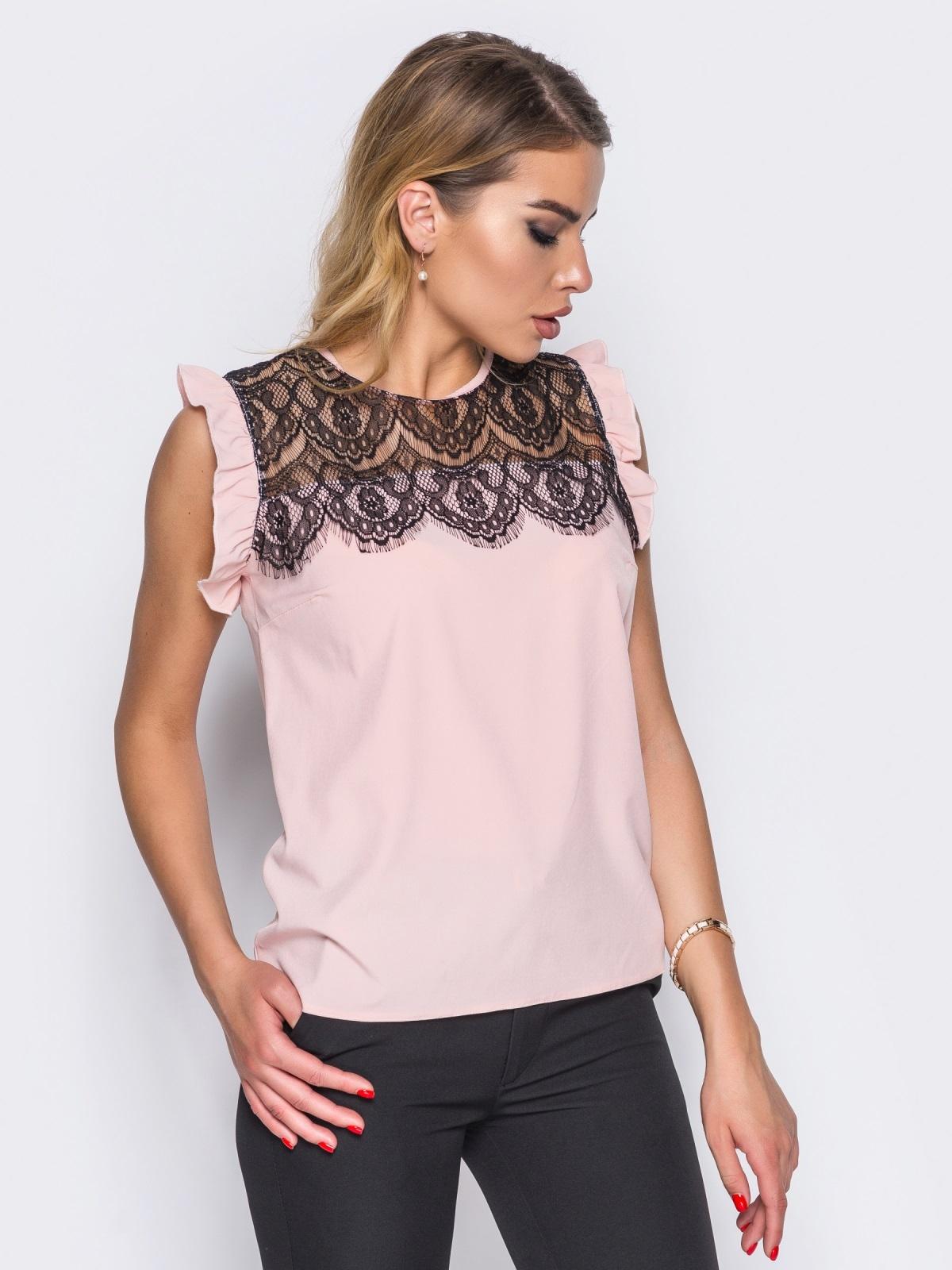 Блузка прямого кроя с кружевной кокеткой розовая - 13250, фото 1 – интернет-магазин Dressa
