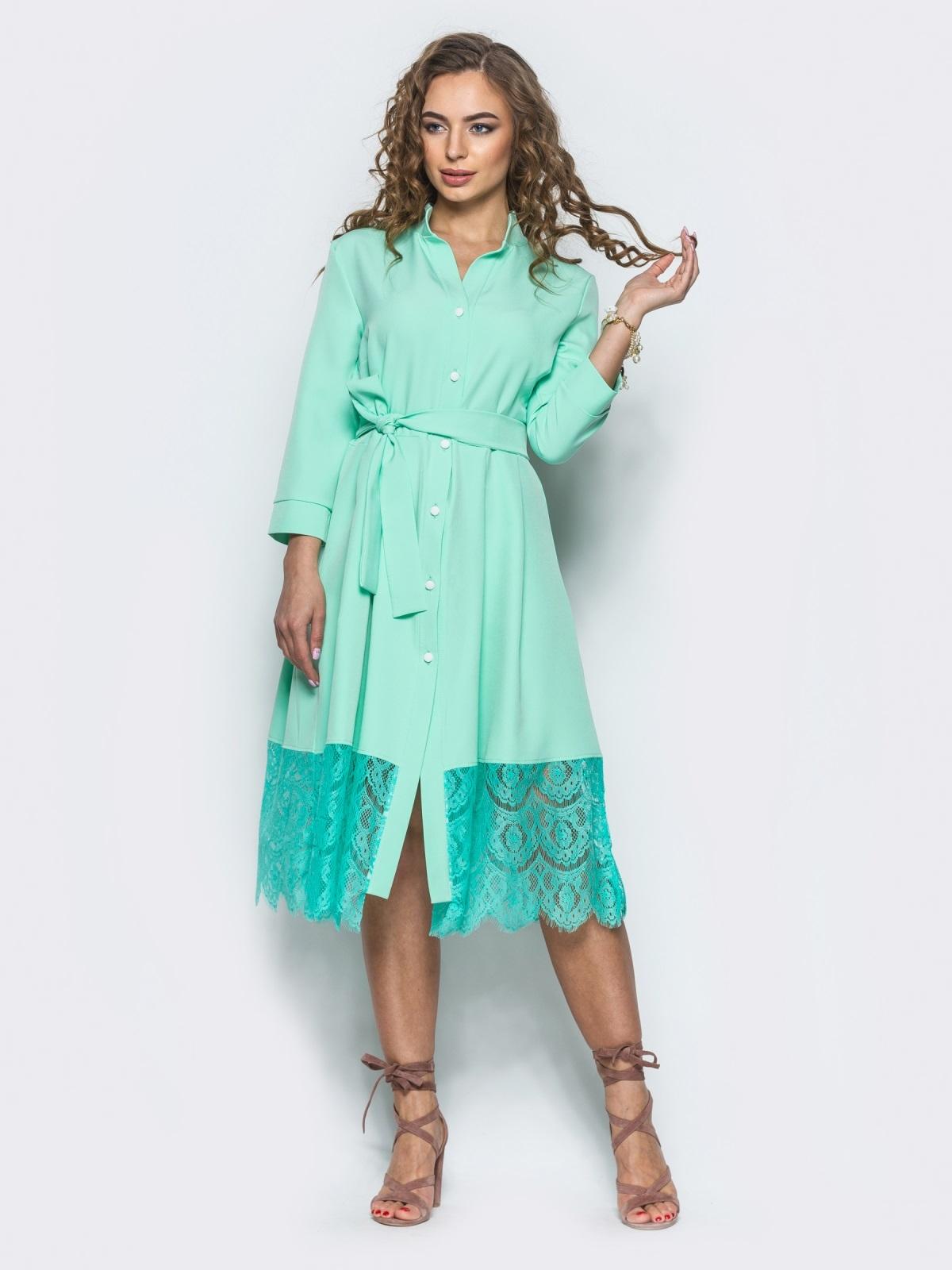 2191bcb71e23b59 Мятное платье-рубашка декорированное кружевом - 12651, фото 1 –  интернет-магазин Dressa