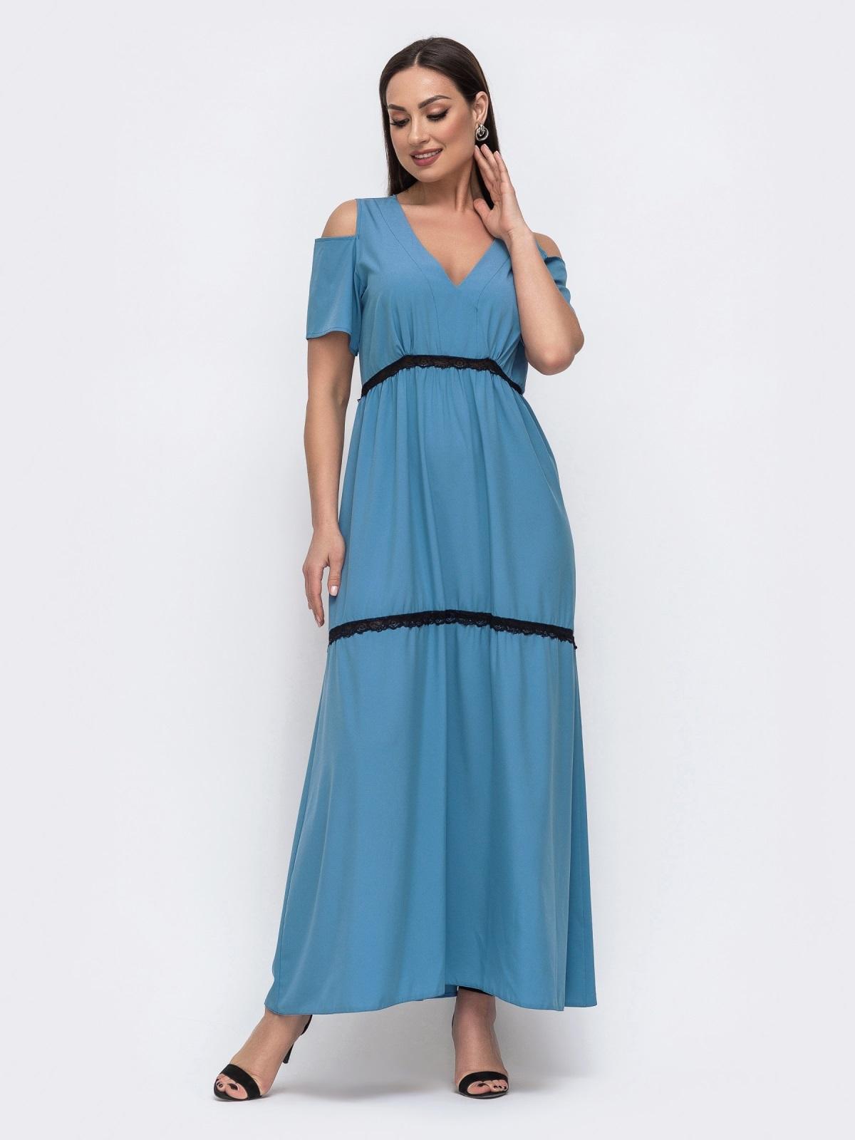 Голубое платье большого размера в пол с открытыми плечами 46376, фото 1