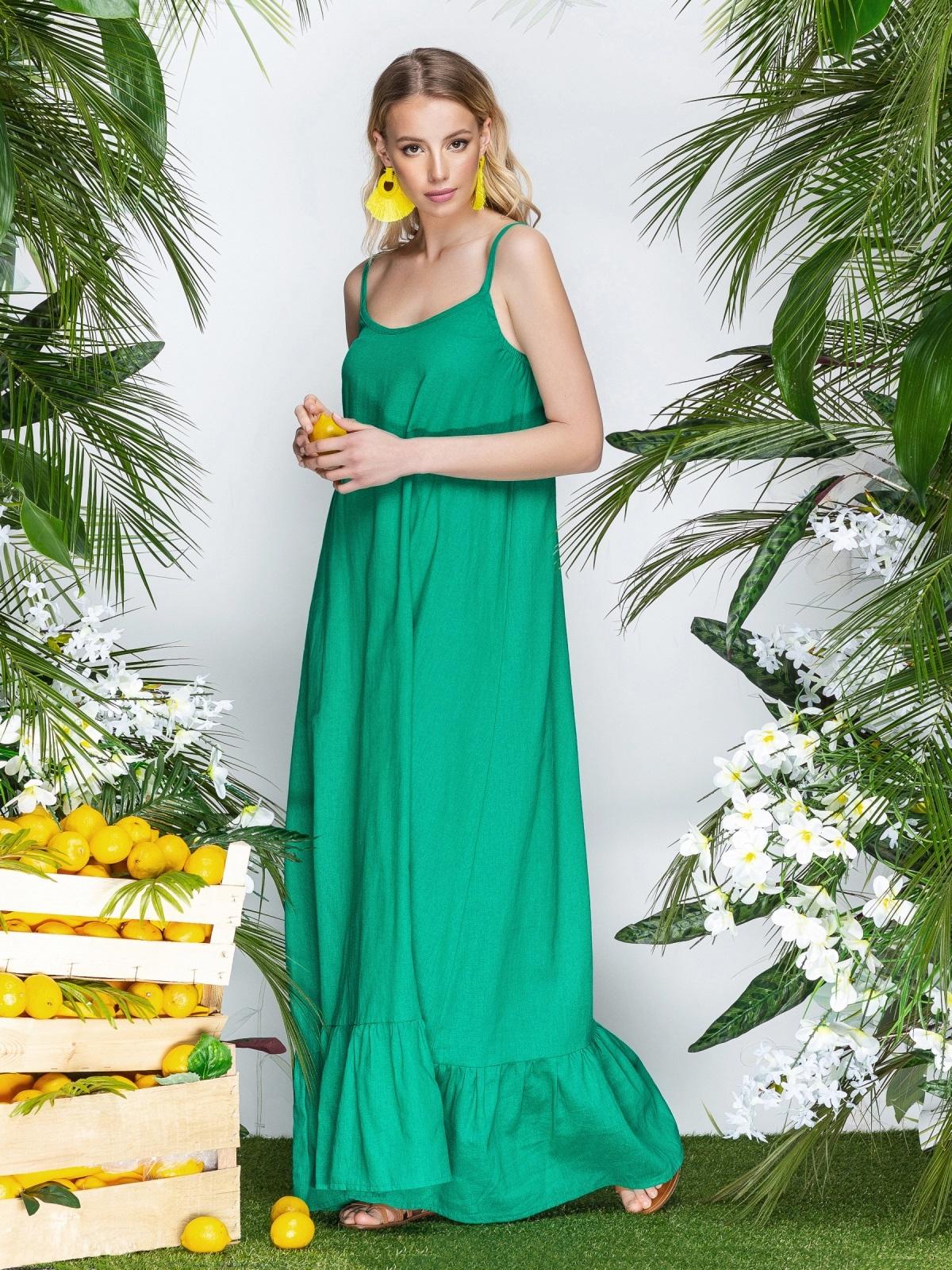 Сарафан из льна в этно-стиле с оборкой по низу зеленый - 21937, фото 1 – интернет-магазин Dressa