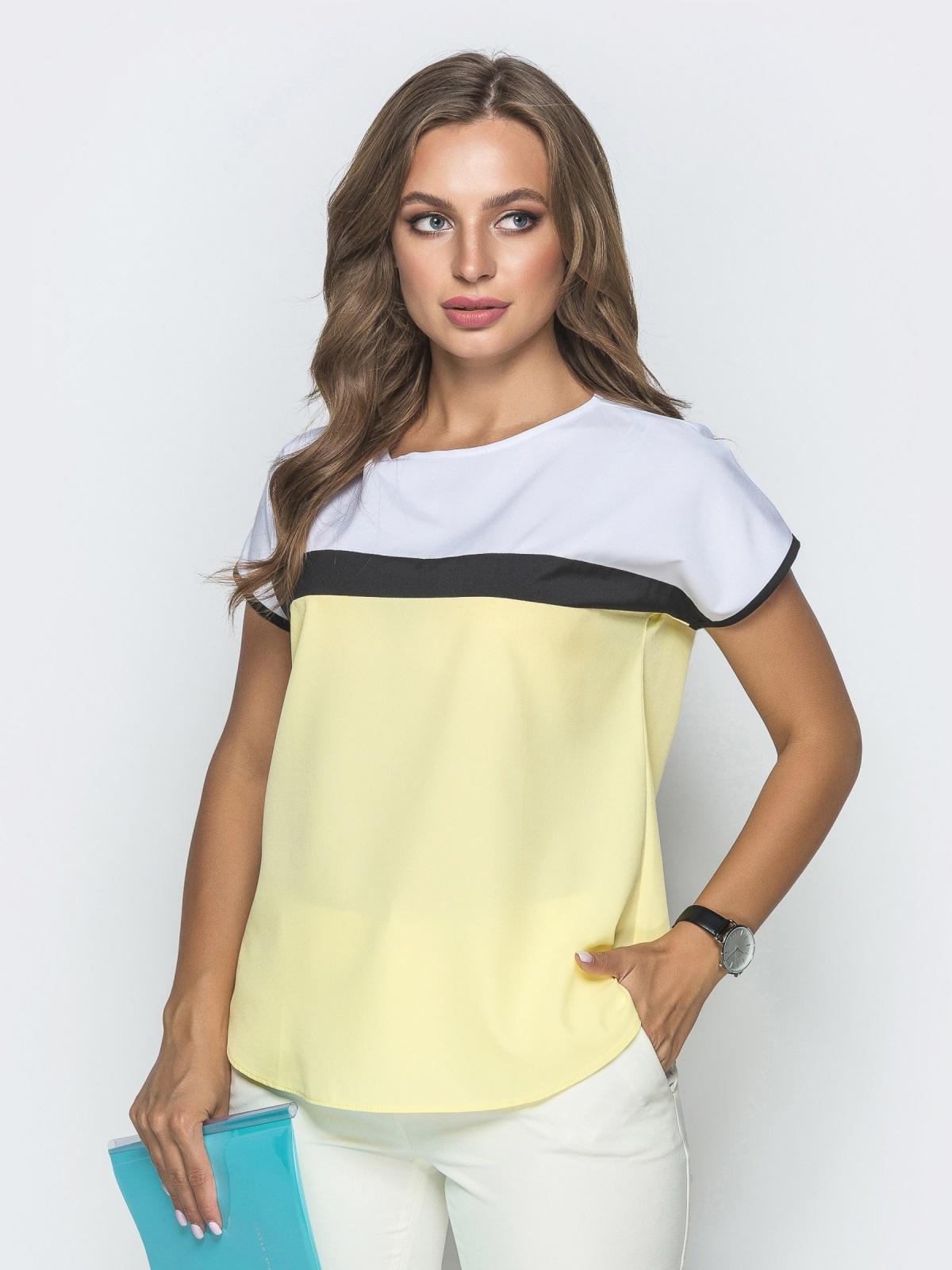 Желтая блузка свободного кроя со вставками - 39824, фото 1 – интернет-магазин Dressa