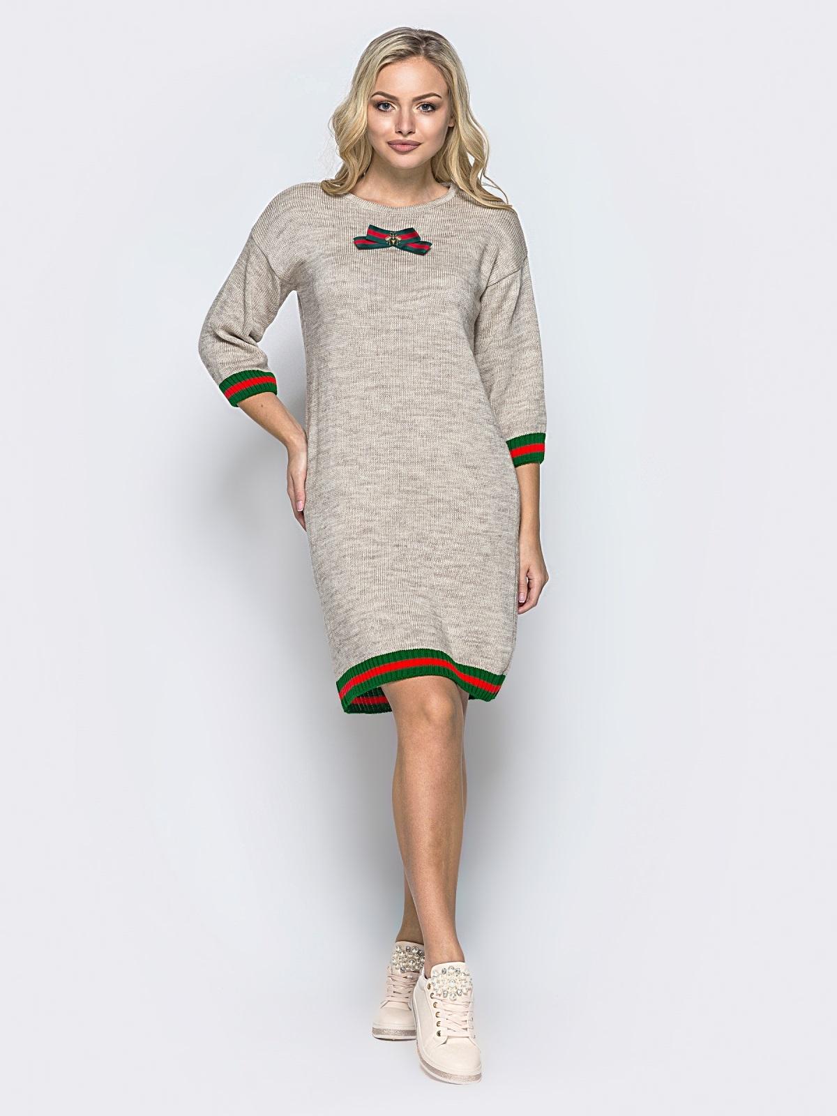 Бежевое шерстяное платье прямого кроя с рукавом / - 16095, фото 1 – интернет-магазин Dressa